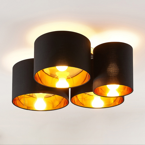 Lindby Laurenz plafondlamp, 4-lamps, zwart-goud