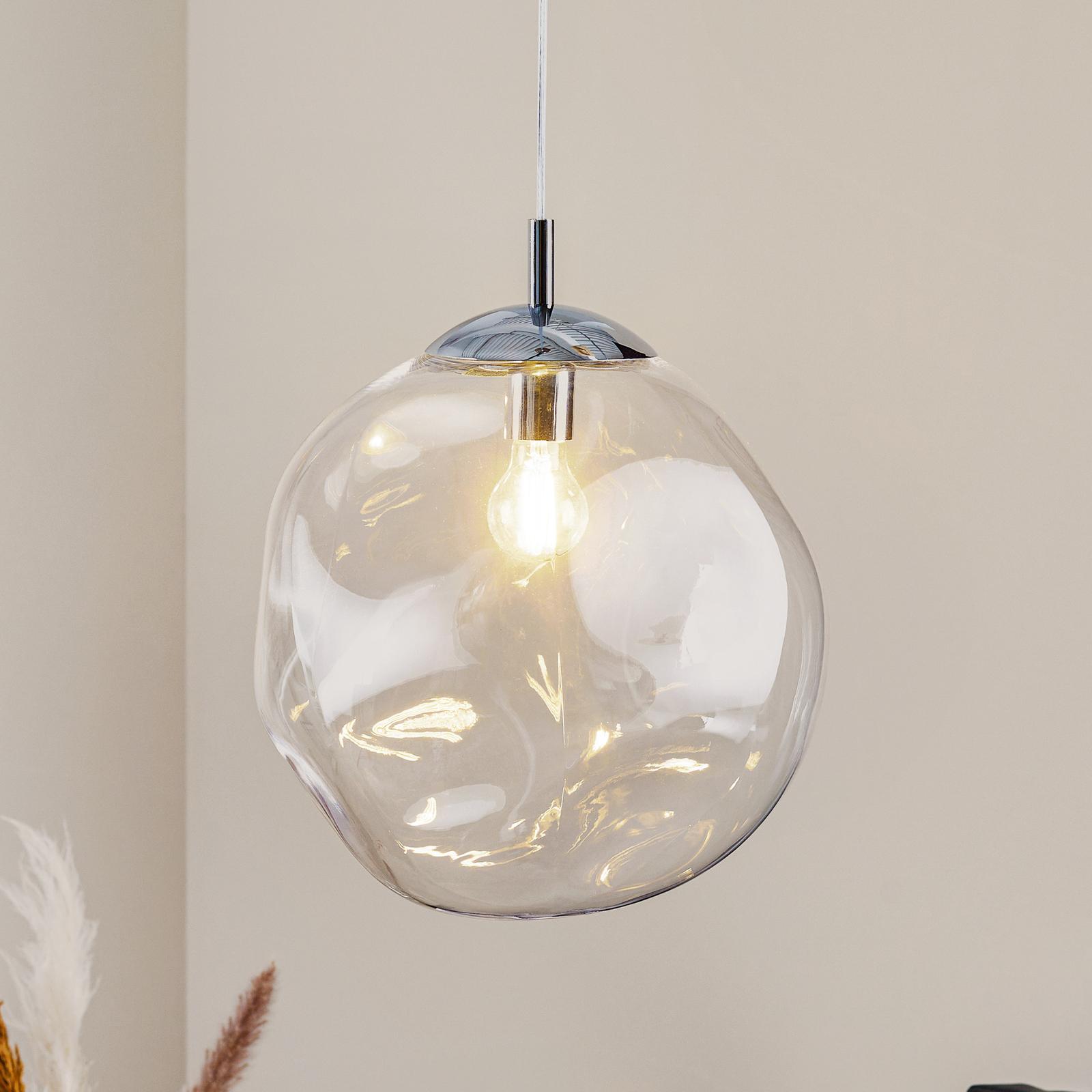 Lampada a sospensione vetro Sol, cromo/trasparente