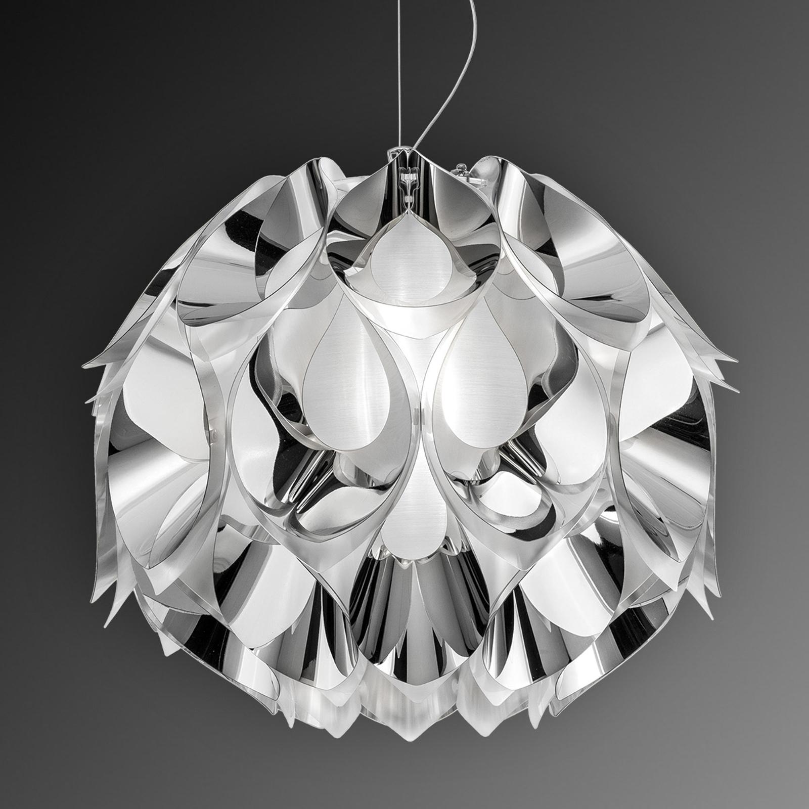Silverfärgad hänglampa Flora, 50 cm