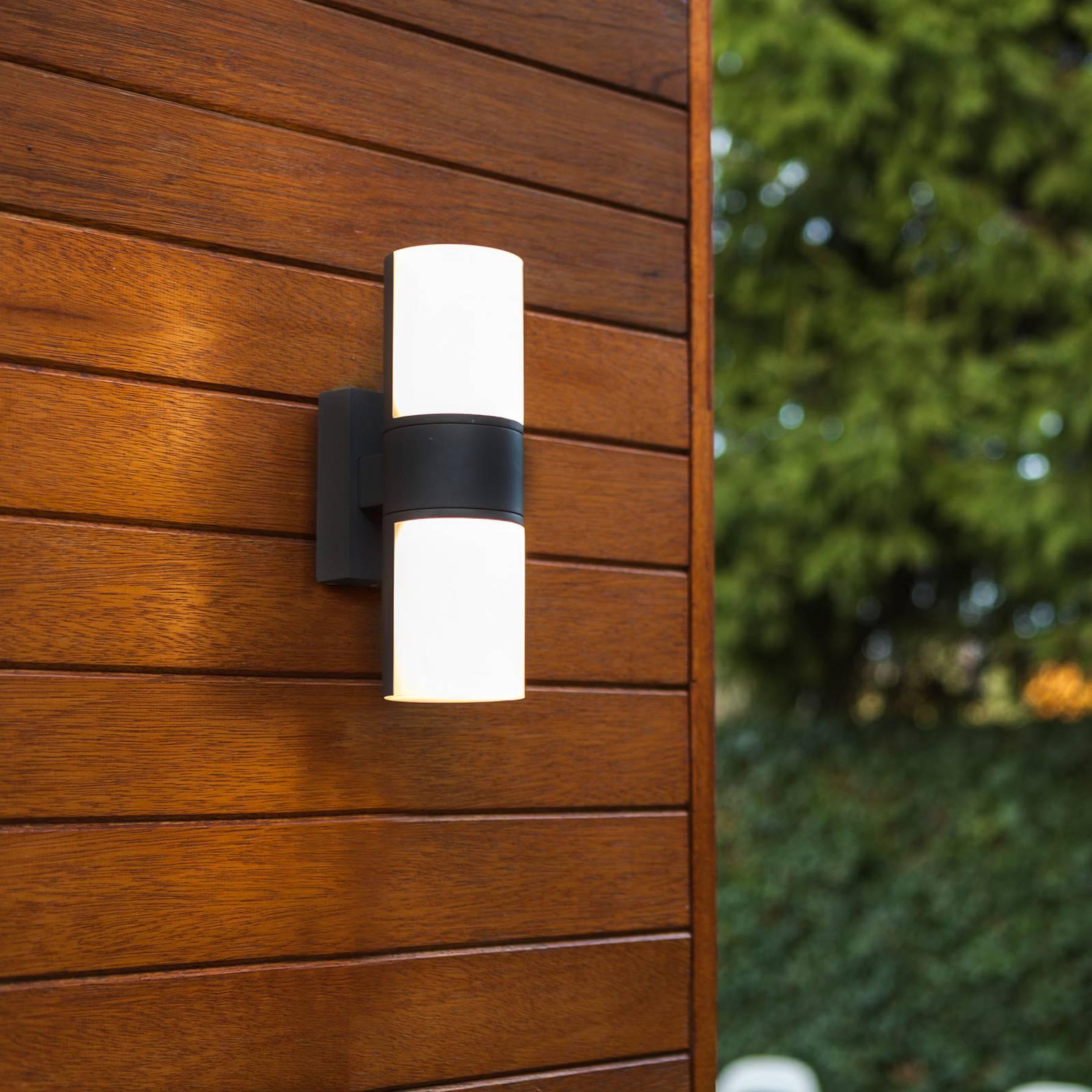 LED-Außenwandleuchte Cyra, 2-fl. mattschwarz