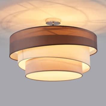 Melia taklampe med tre lag i brun og grå