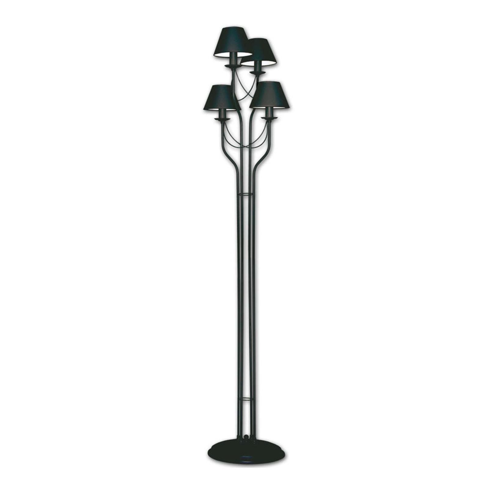 Czarna lampa stojąca Bona, cztery tekstylne klosze