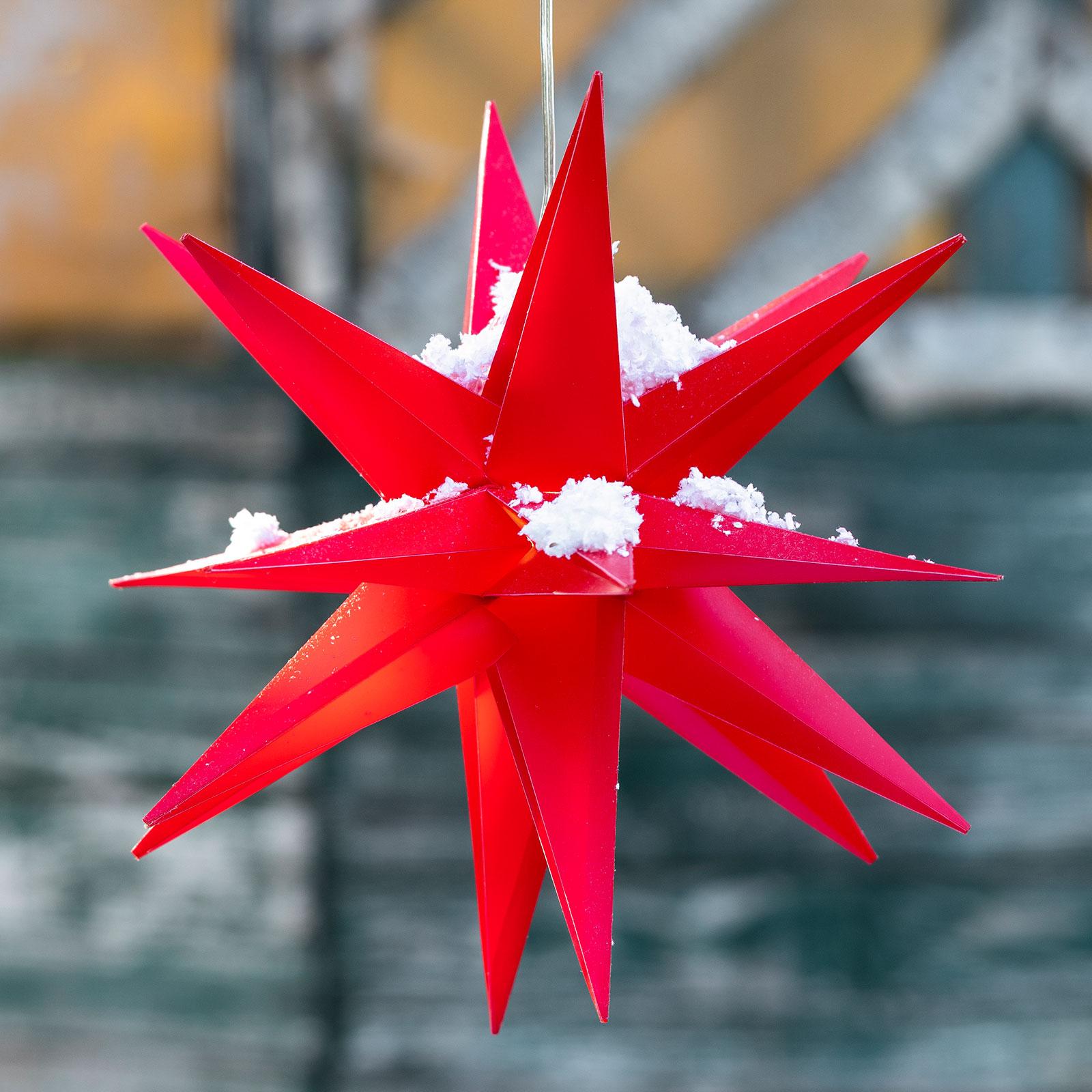 LED-dekostjärna, 18 uddig, Ø 25 cm, röd