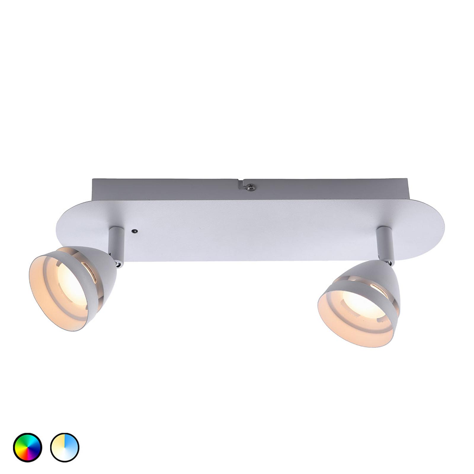 Trio WiZ Gemini LED-Deckenleuchte 2-flg. weiß