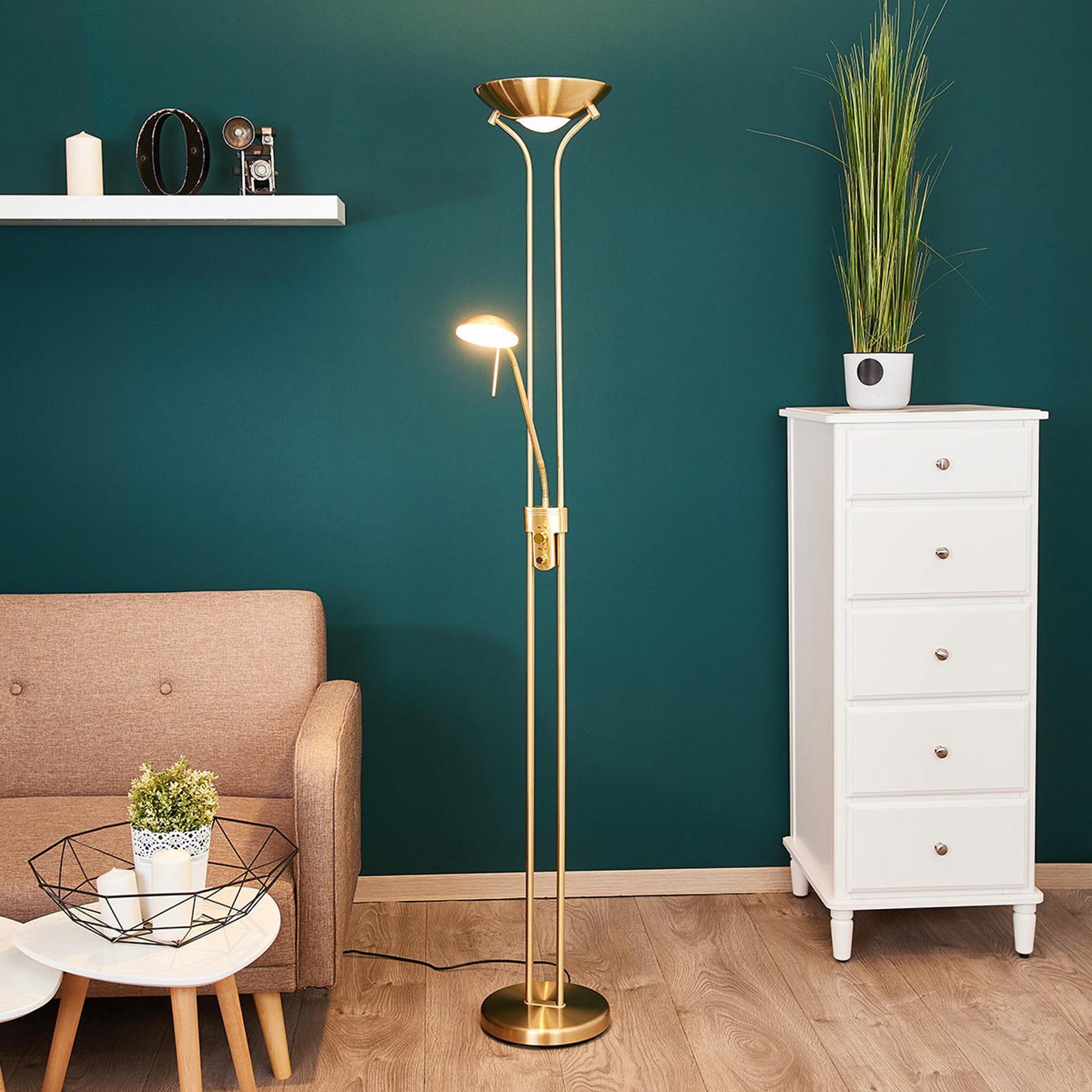Lampadaire LED Josefin avec liseuse, laiton
