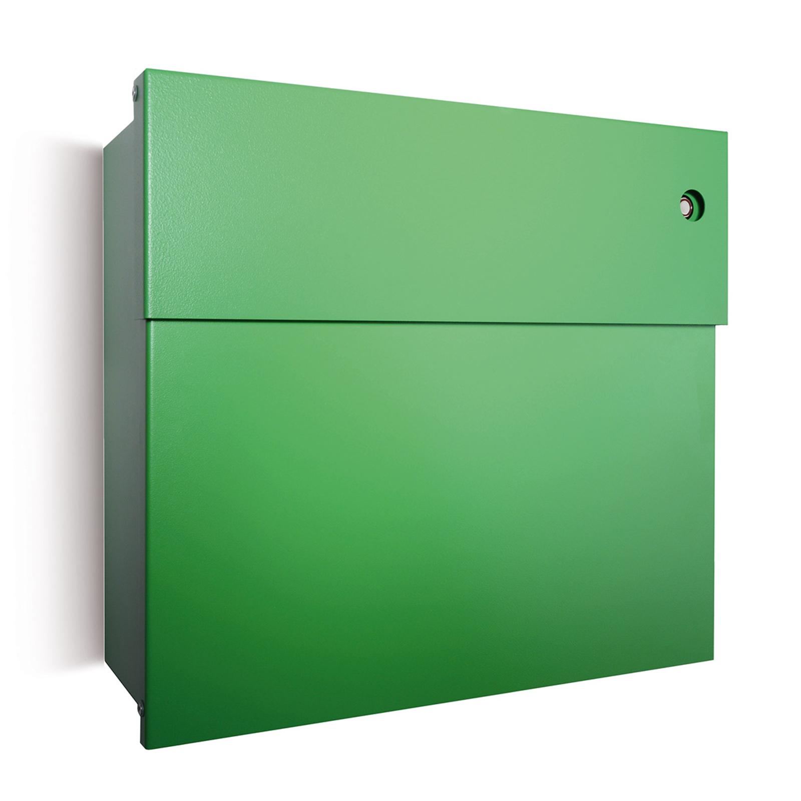 Briefkasten Letterman IV, rote Klingel, grün
