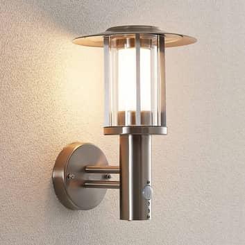 LED-Außenwandlampe Gregory, Edelstahl, m. Sensor