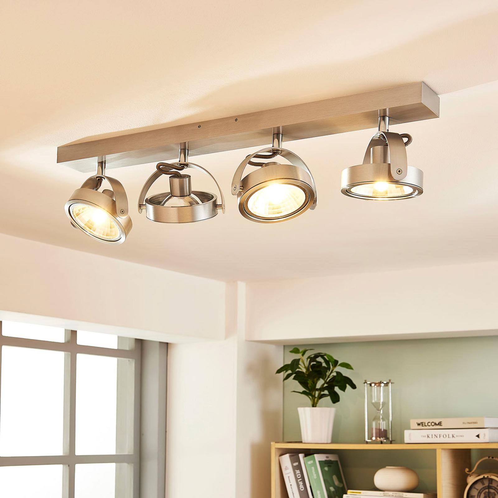 Plafonnier LED à 4 lampes Lieven, alu