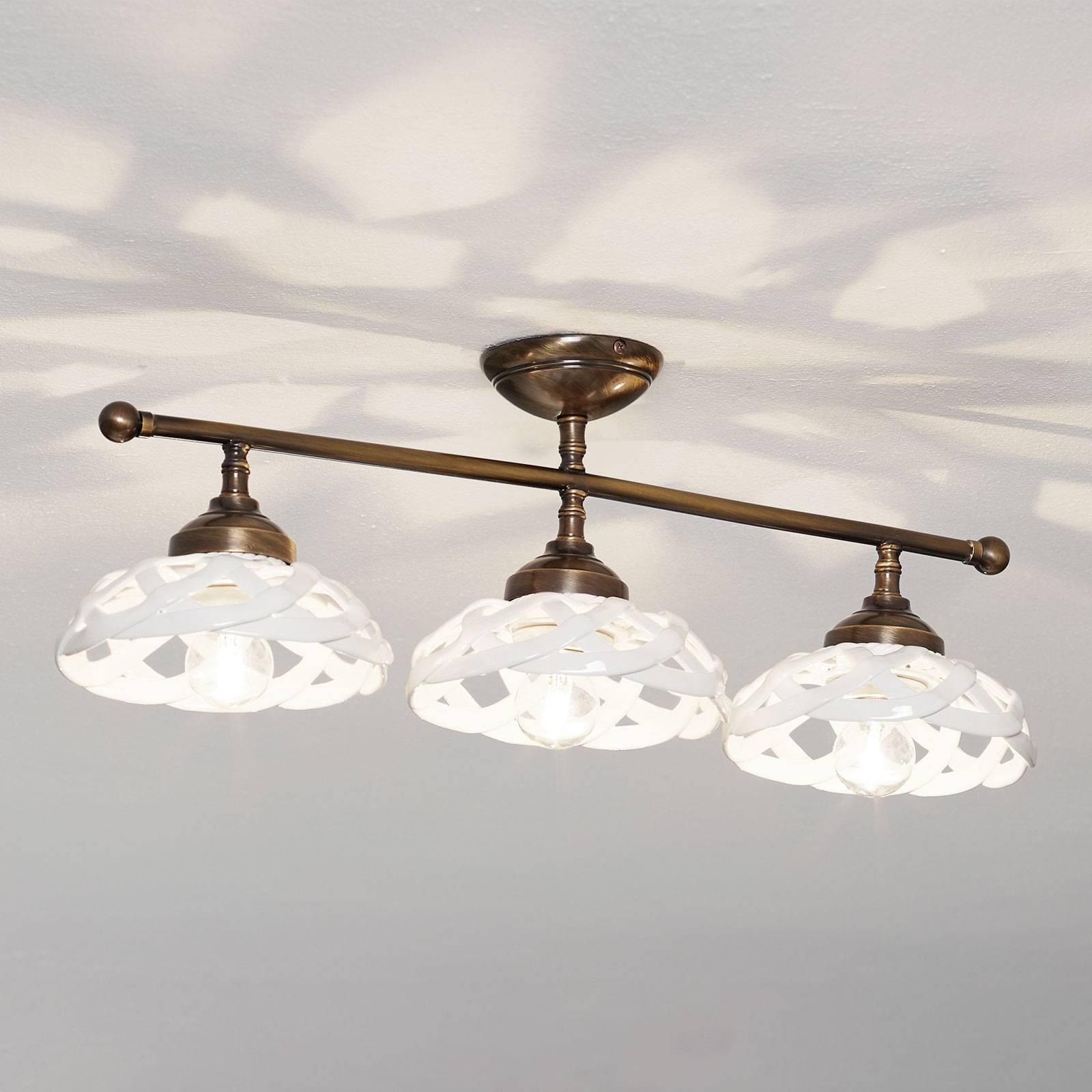 Plafondlamp Emanuel keramiek 3-lamps