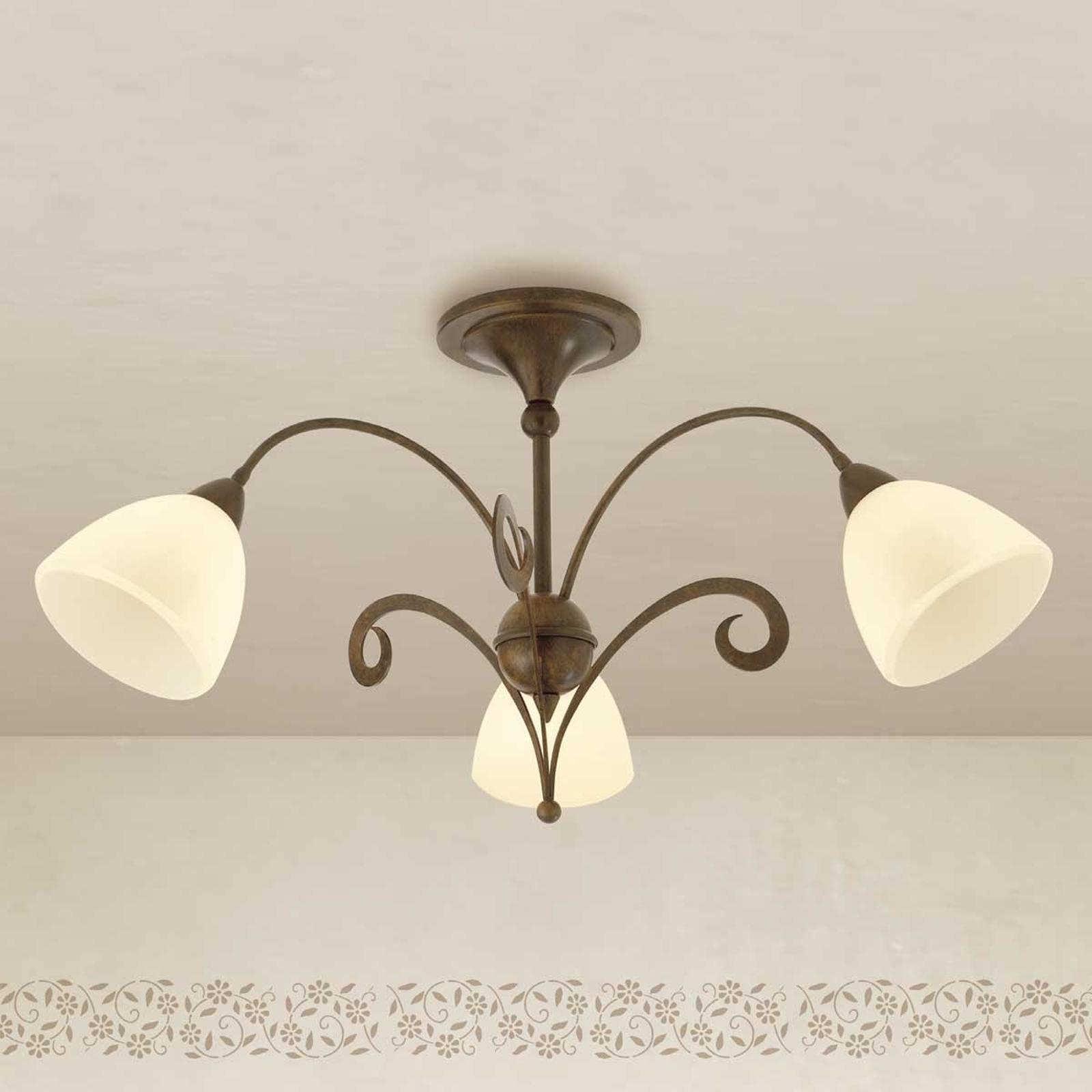 Rustykalna lampa sufitowa Luca 3-punktowa