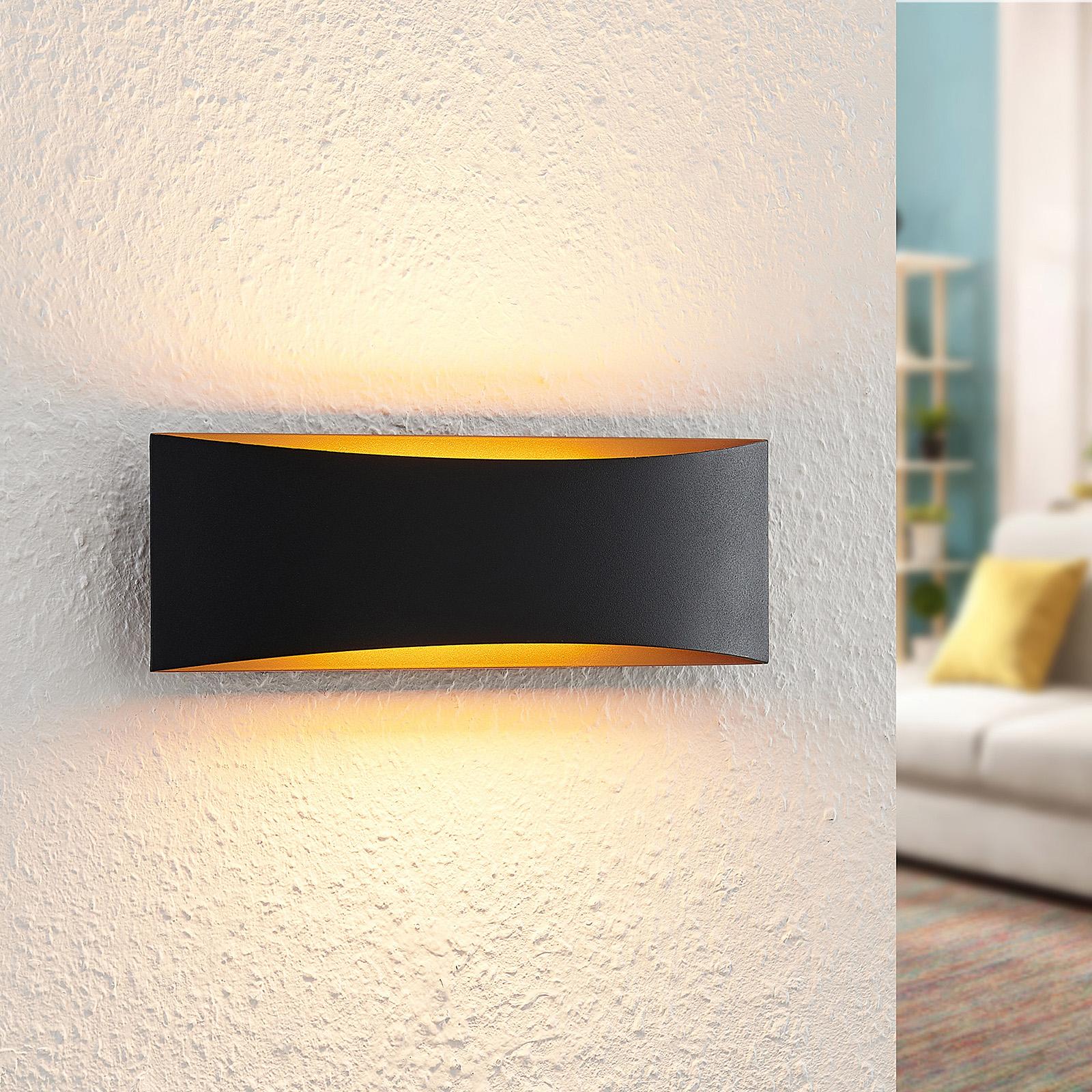 Arcchio Danta LED wandlamp, zwart-goud