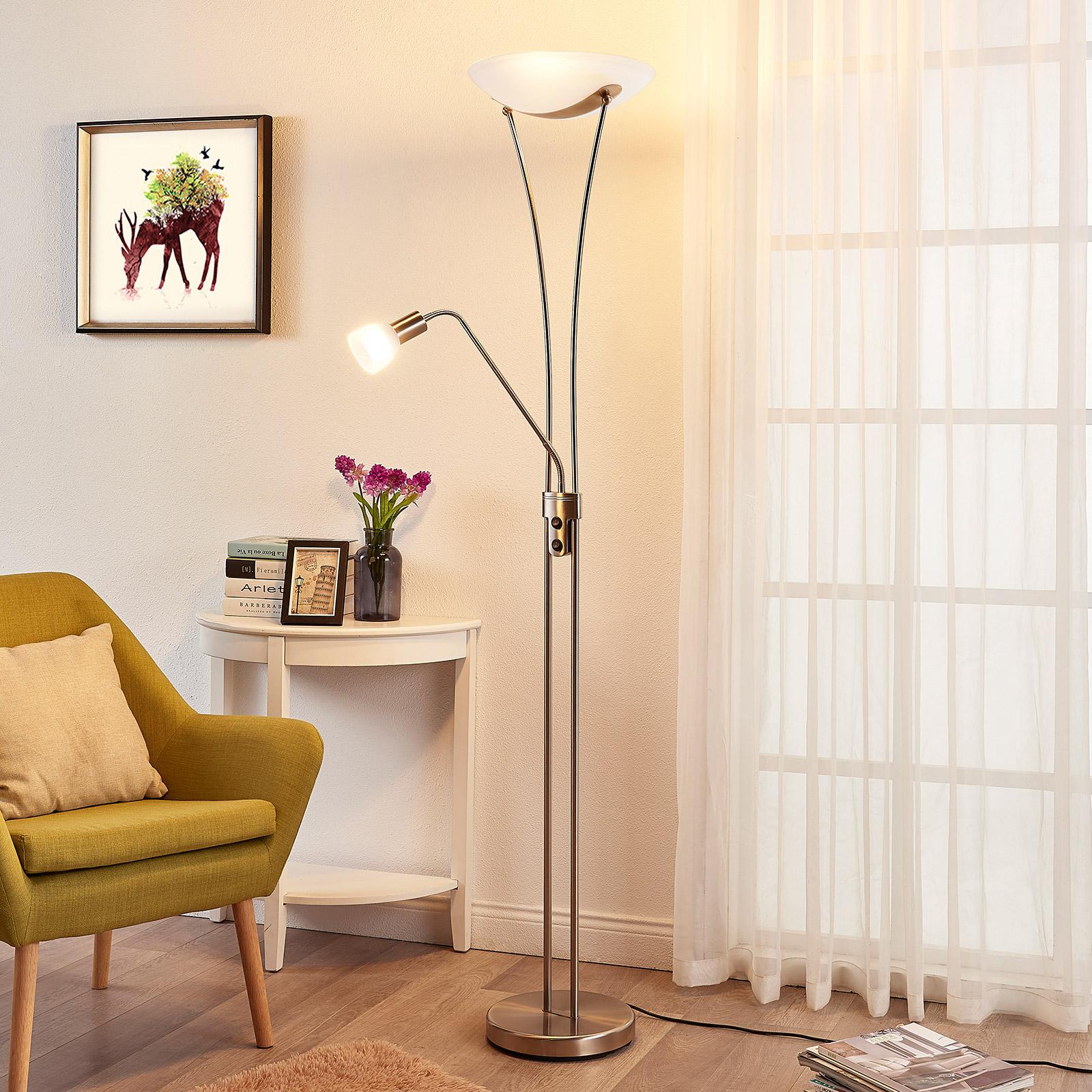 Lámpara LED de pie Felicia atemporal, atenuable