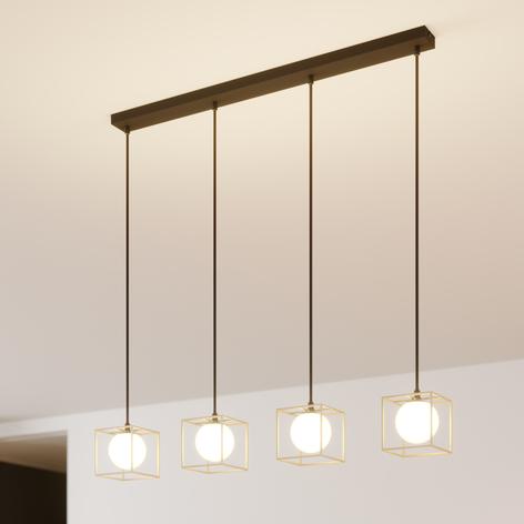 Lámpara colgante Aloam jaula y cristal, 4 luces