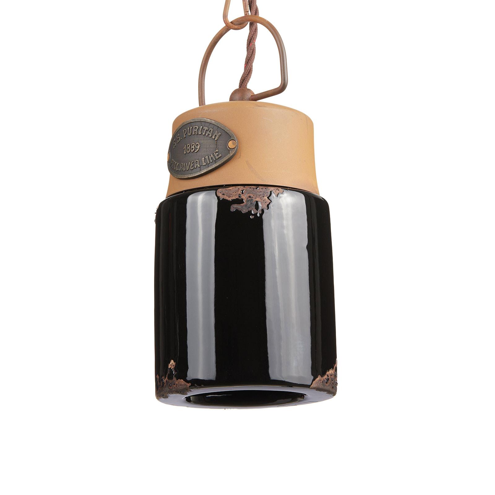 Suspension C1620, céramique et métal, noire
