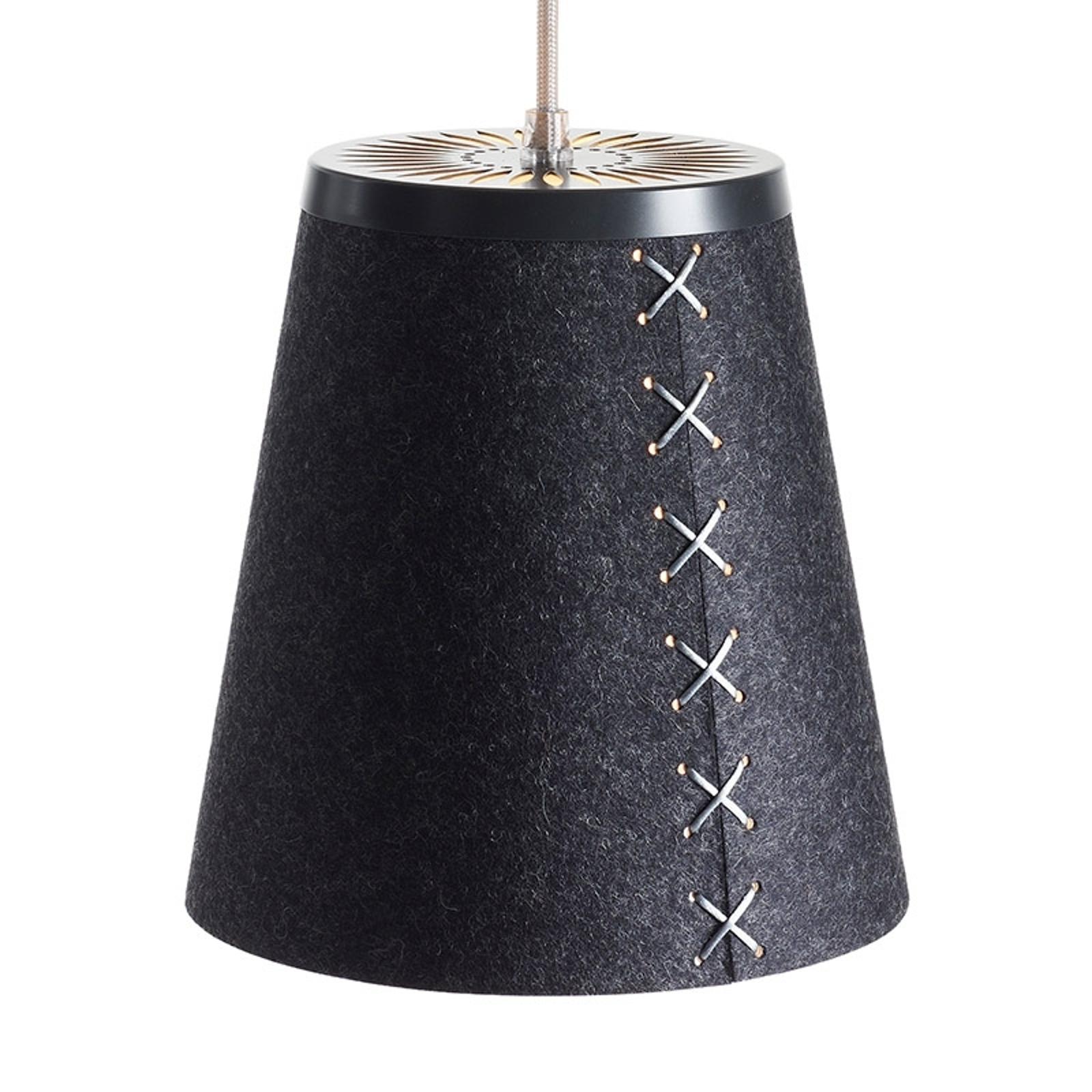 Lampa wisząca FLÖR z filcu wełnianego, grafitowa