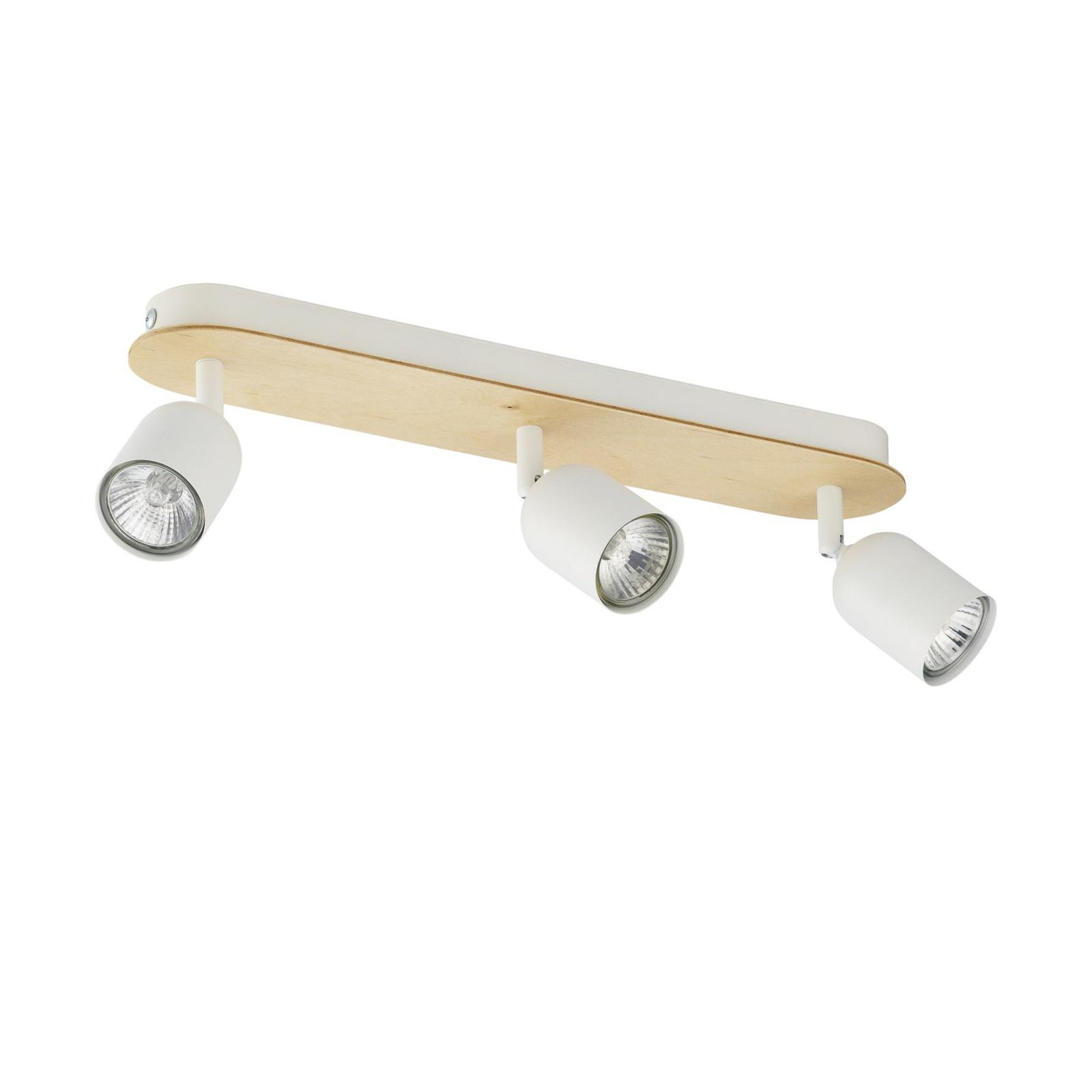 Plafonnier à spots Top Wood, 3 lampes, bois/blanc