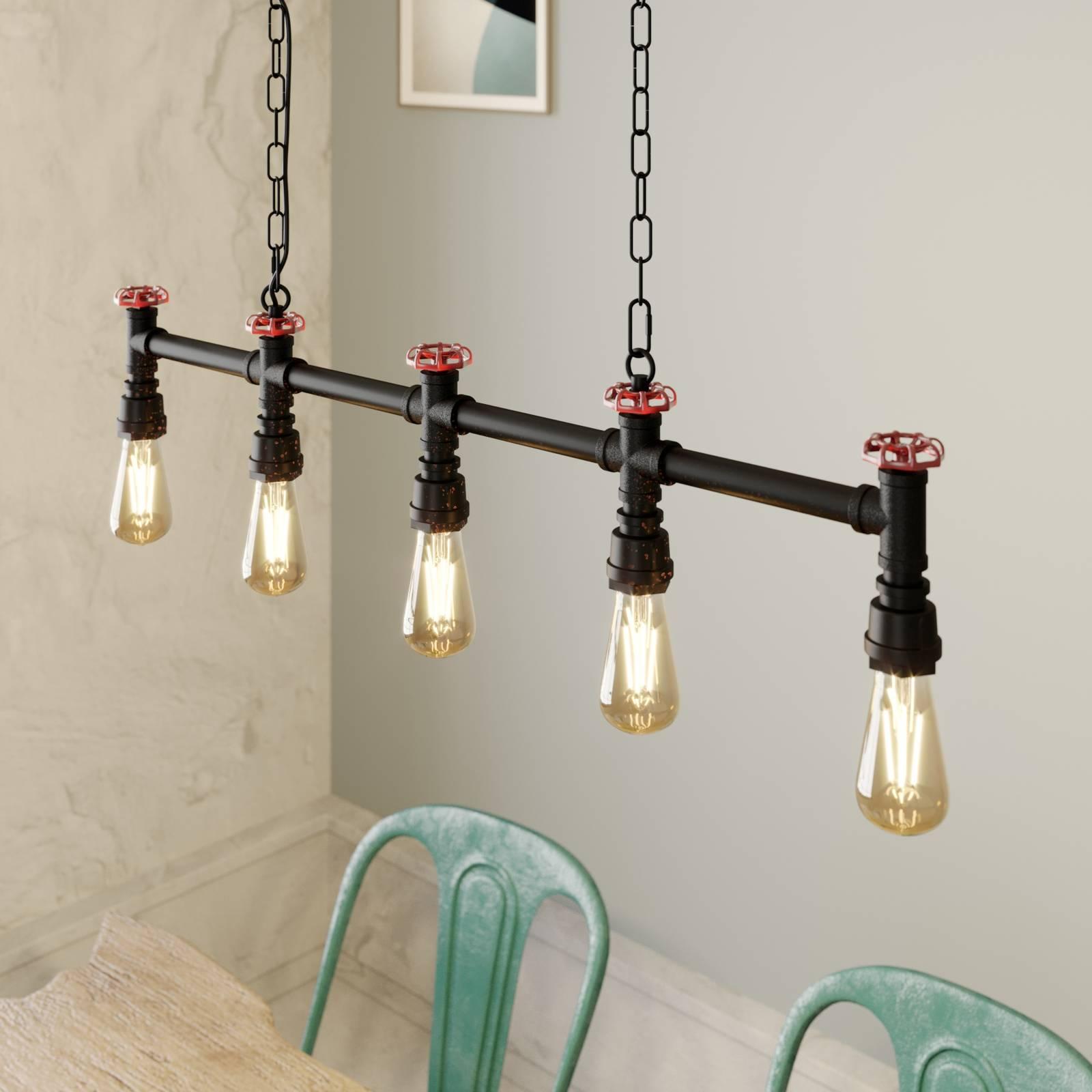 Lindby Zlata suspension à 5 lampes, industrielle