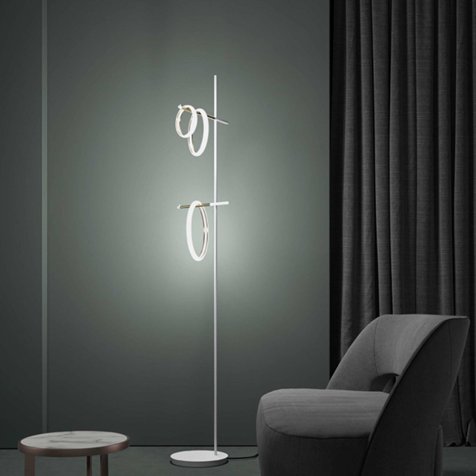LED-Stehleuchte Ulaop, drei Ringe, weiß