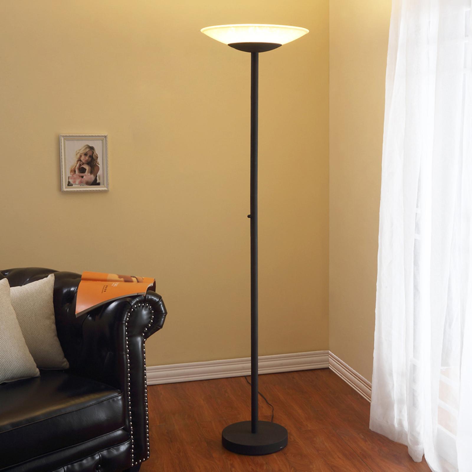 LED-uplight-golvlampa Ragna, dimmer, antik svart