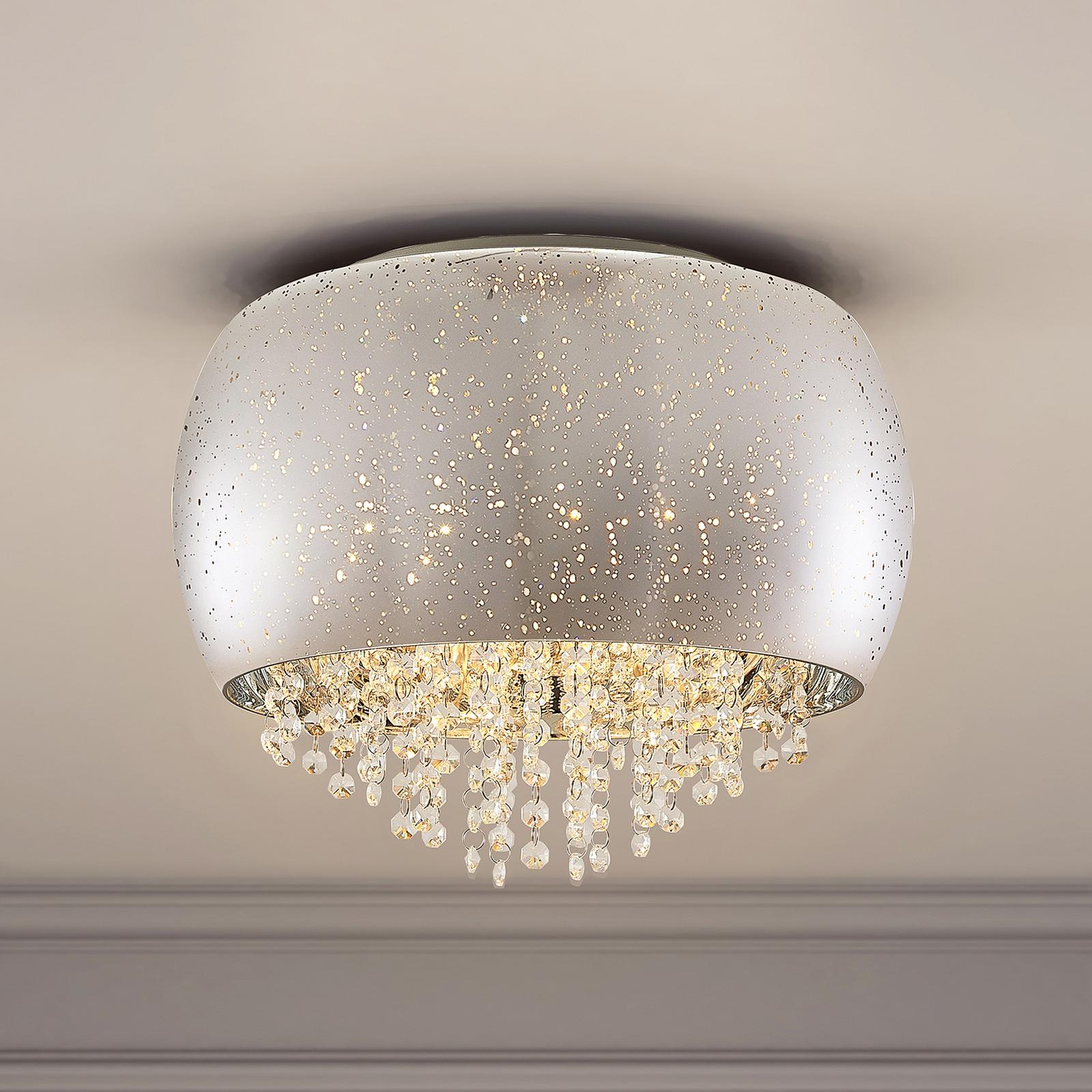 Lucande Elinara krystall-taklampe, 5 lys krom