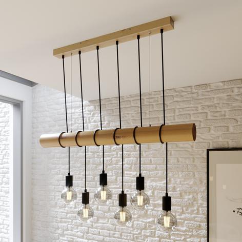 Lampada a sospensione in legno Eviton a 6 luci