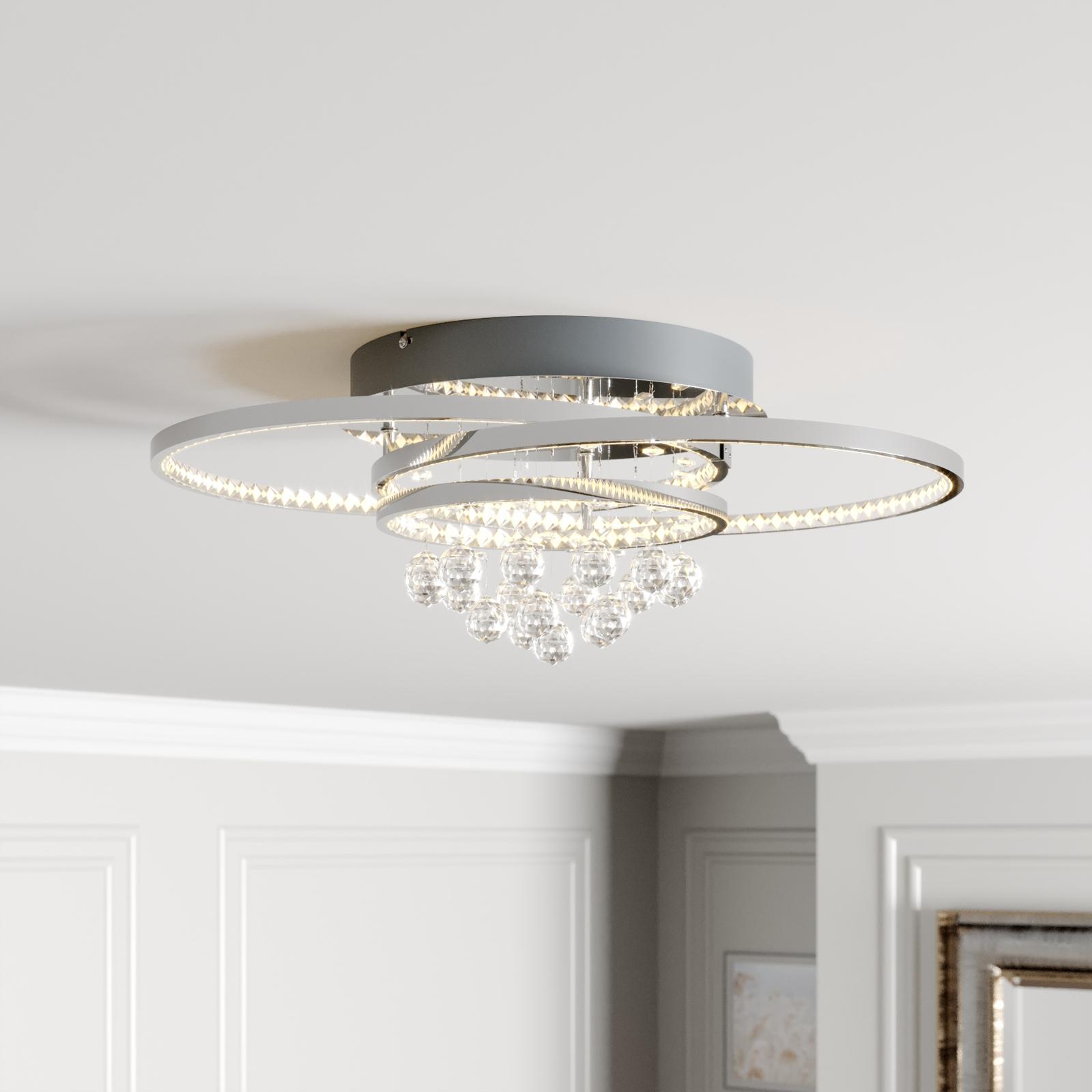 Lucande Keely LED-Deckenleuchte Kristall, 56,5 cm