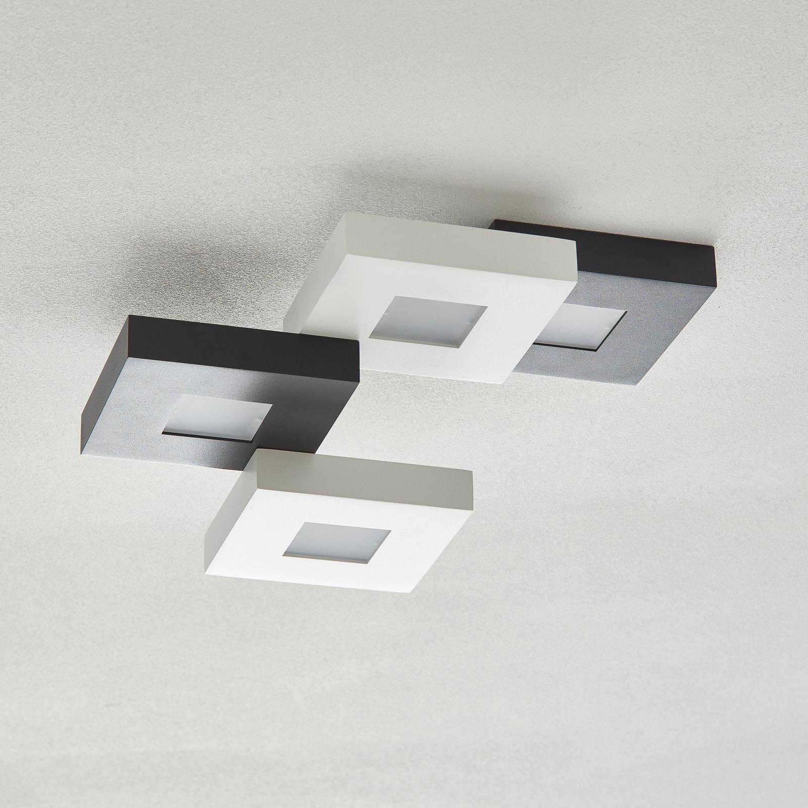 Cubus - LED-loftslampe i sort og hvid, 4 lysk.