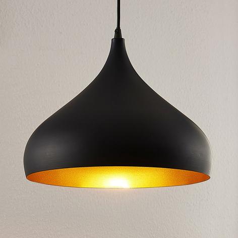 Aluminium hanglamp Ritana, zwart-goud