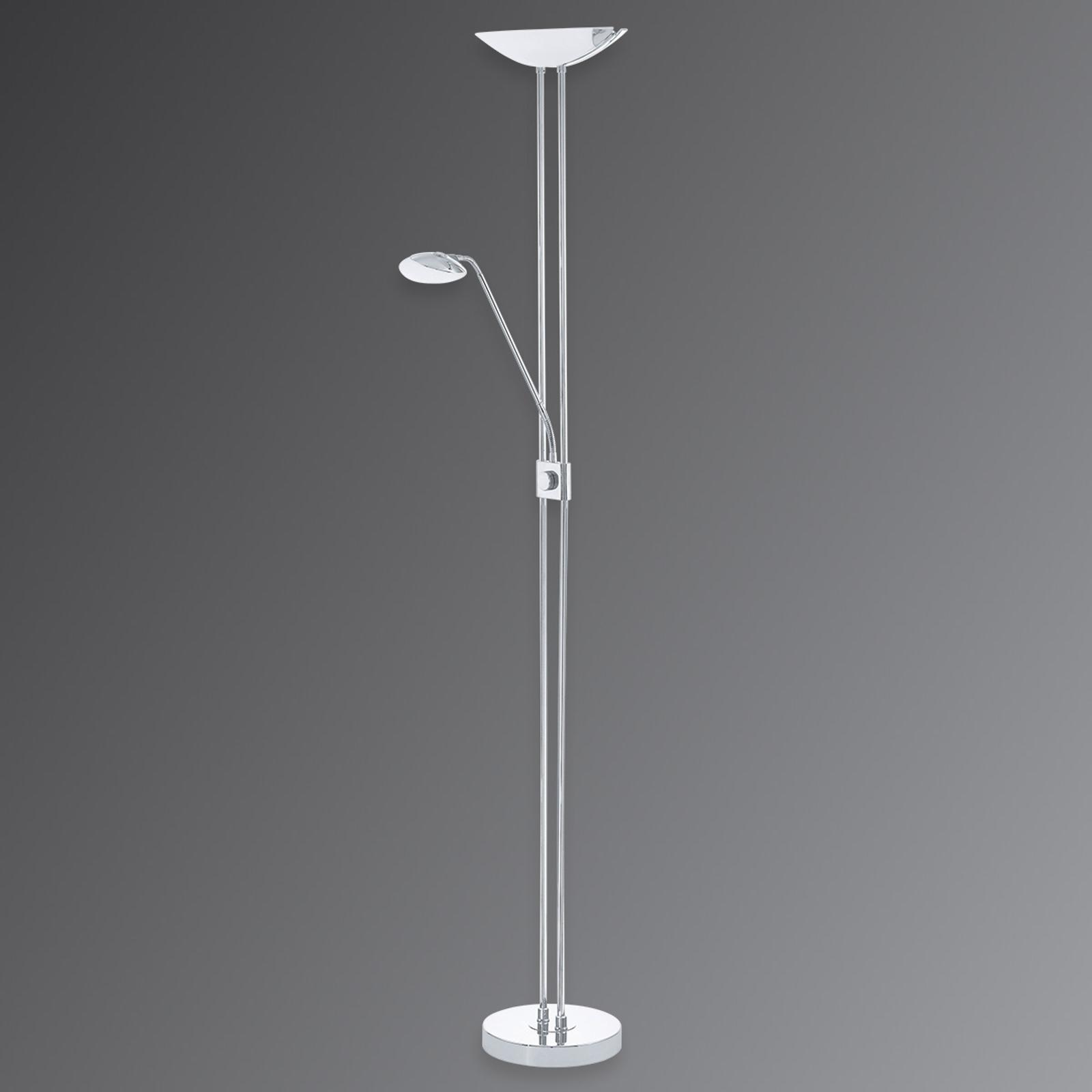 Baya, lámpara LED de pie y foco a techo cromada