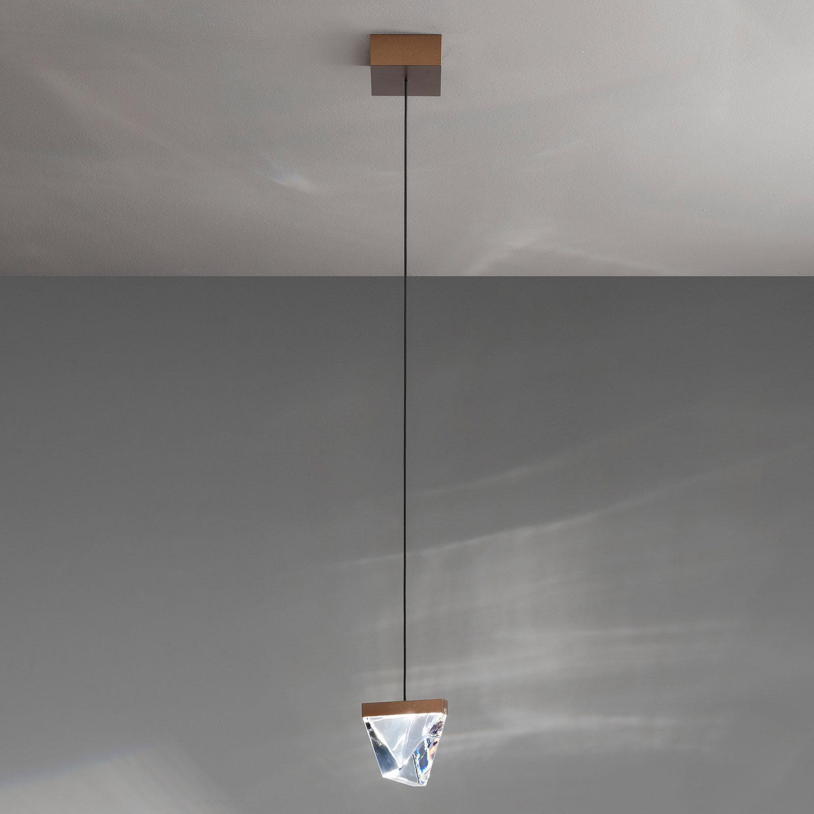 Fabbian Tripla LED-hengelampe, krystall, bronse