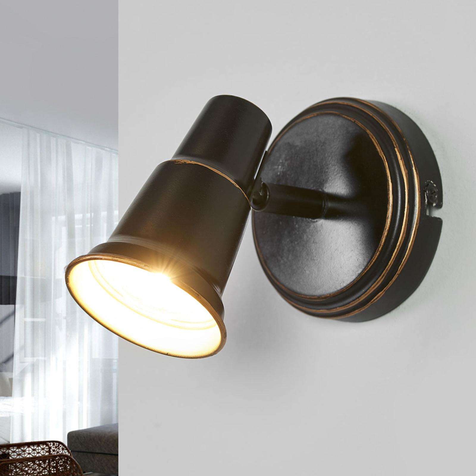 Arielle - antik væglampe i sort