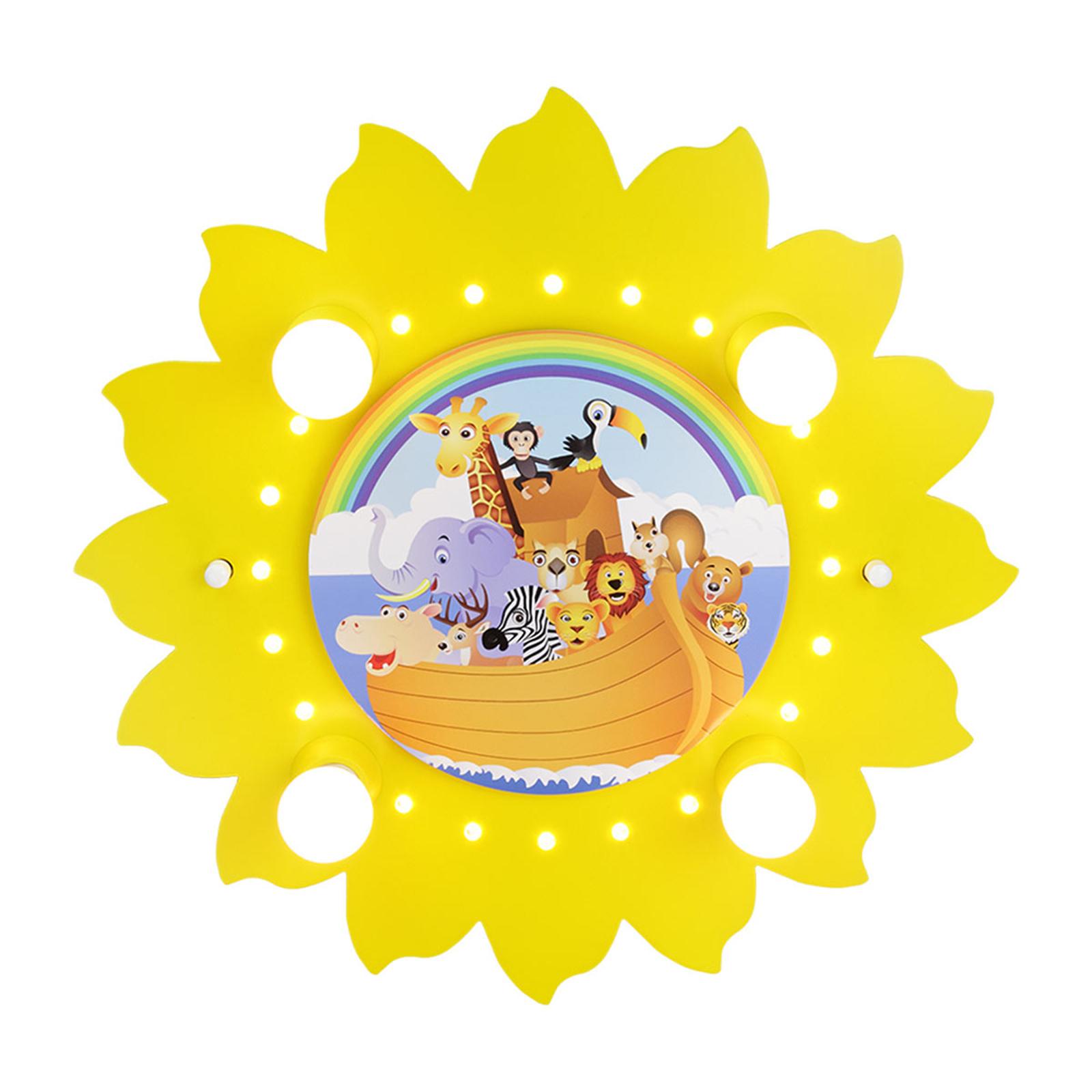 Lampa sufitowa Słońce arka żółta, 4-punktowa