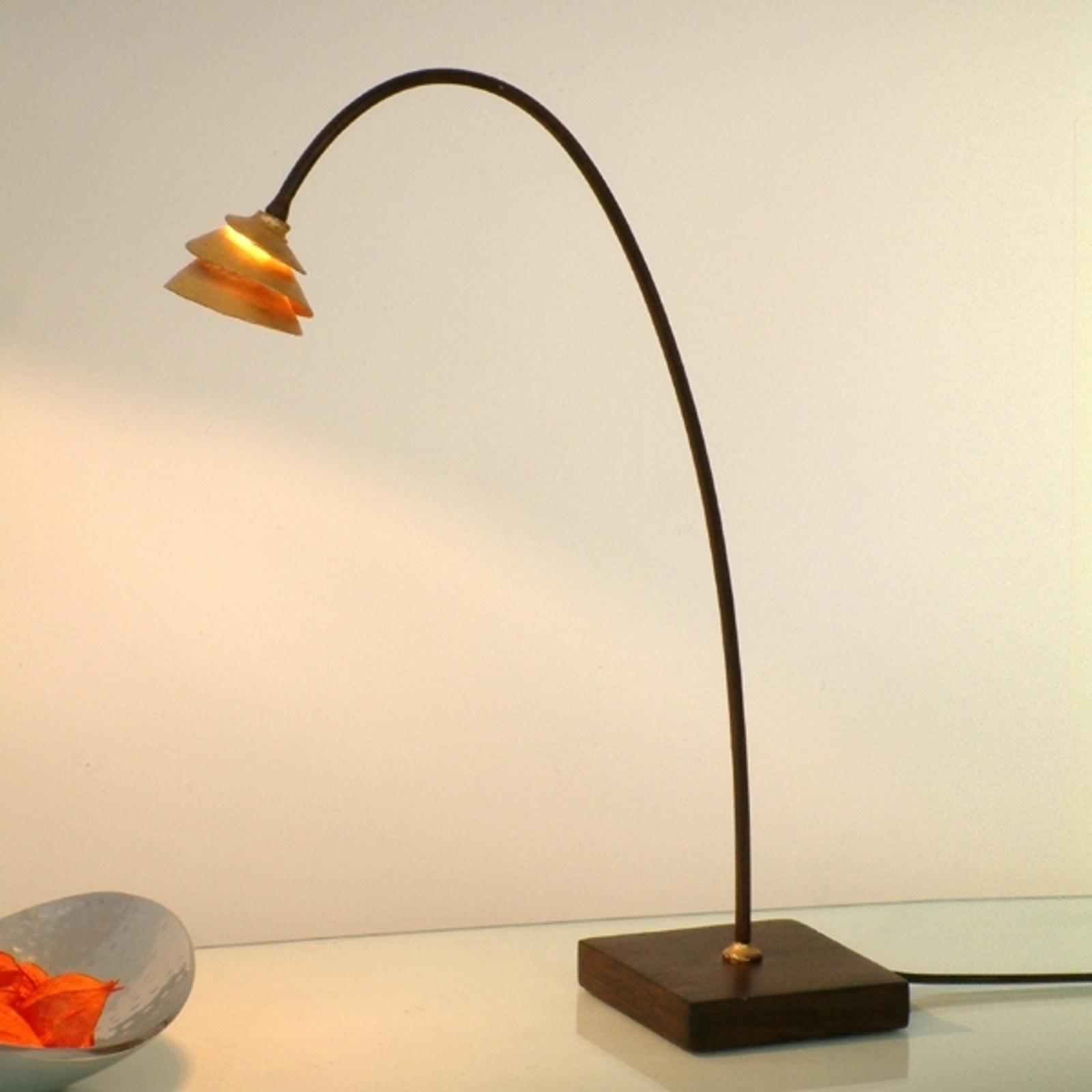 Elegante tafellamp SNAIL van ijzer - bruin-goud