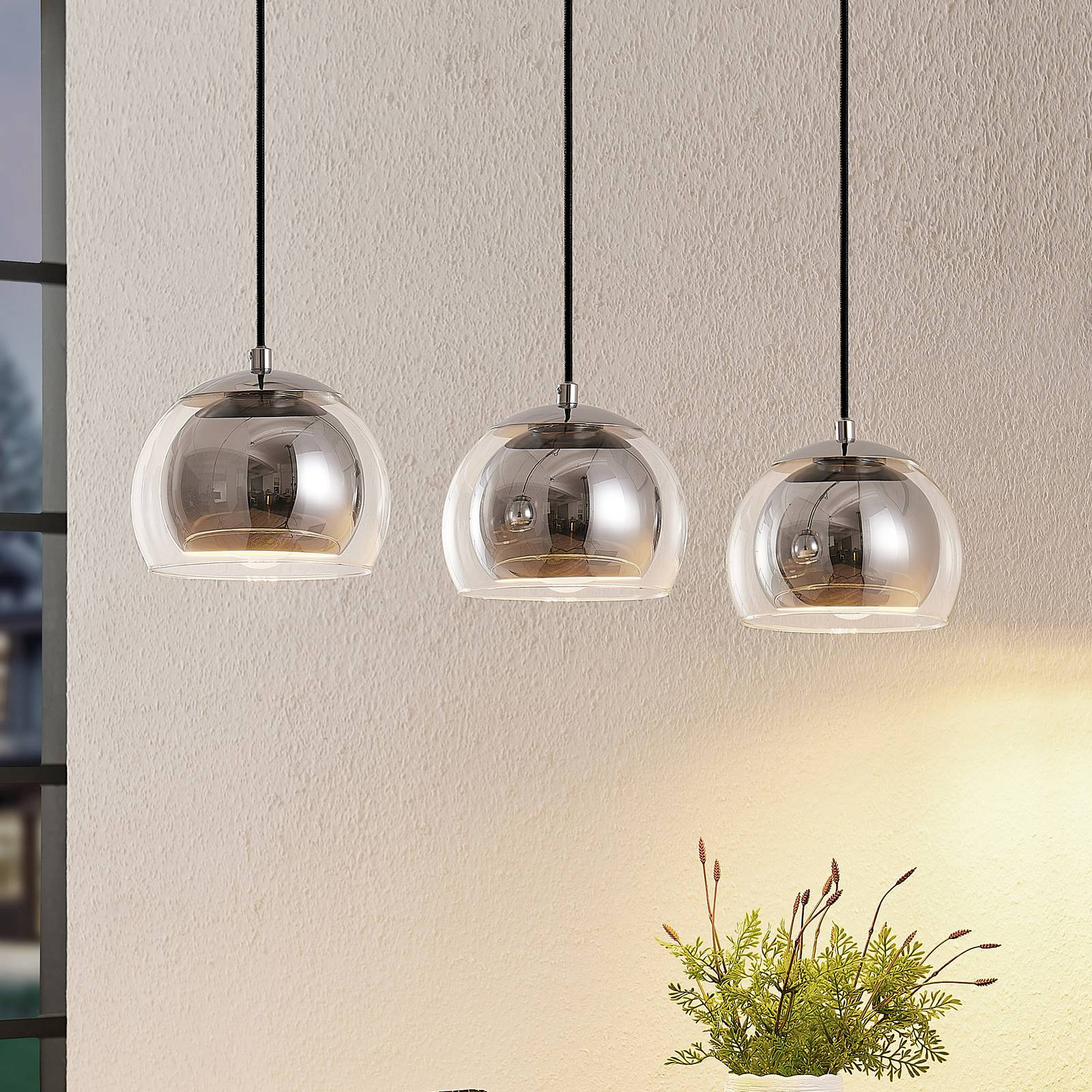 Lindby Daymien hanglamp, 3-lamps, chroom