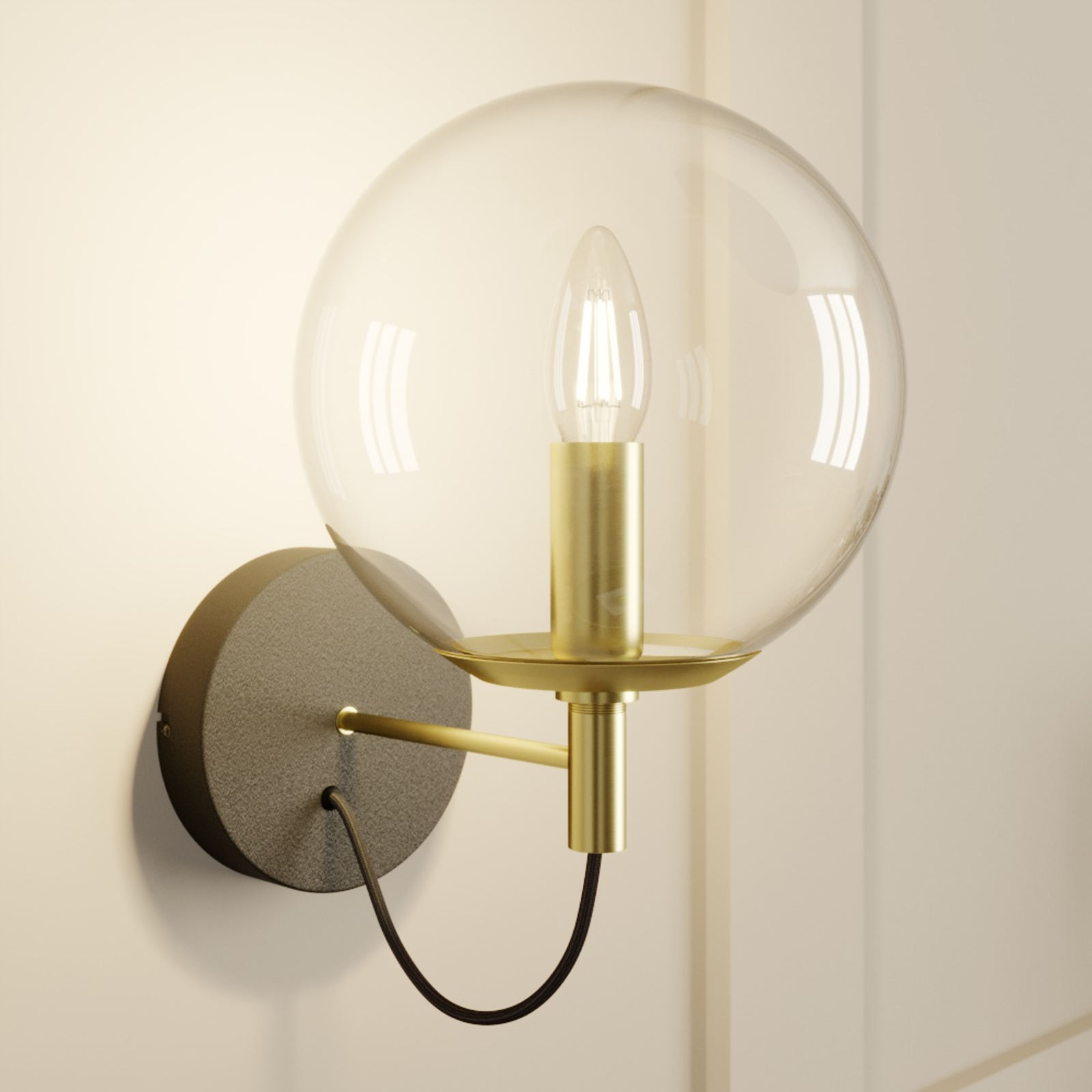 Lucande Sotiana wandlamp, glasbol, messing