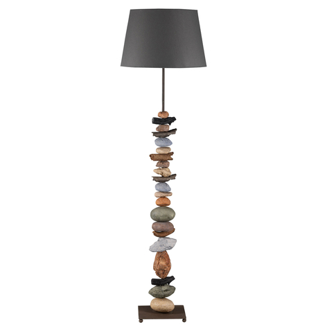 Stehlampe Vera mit Stoffschirm und Stein-Dekor