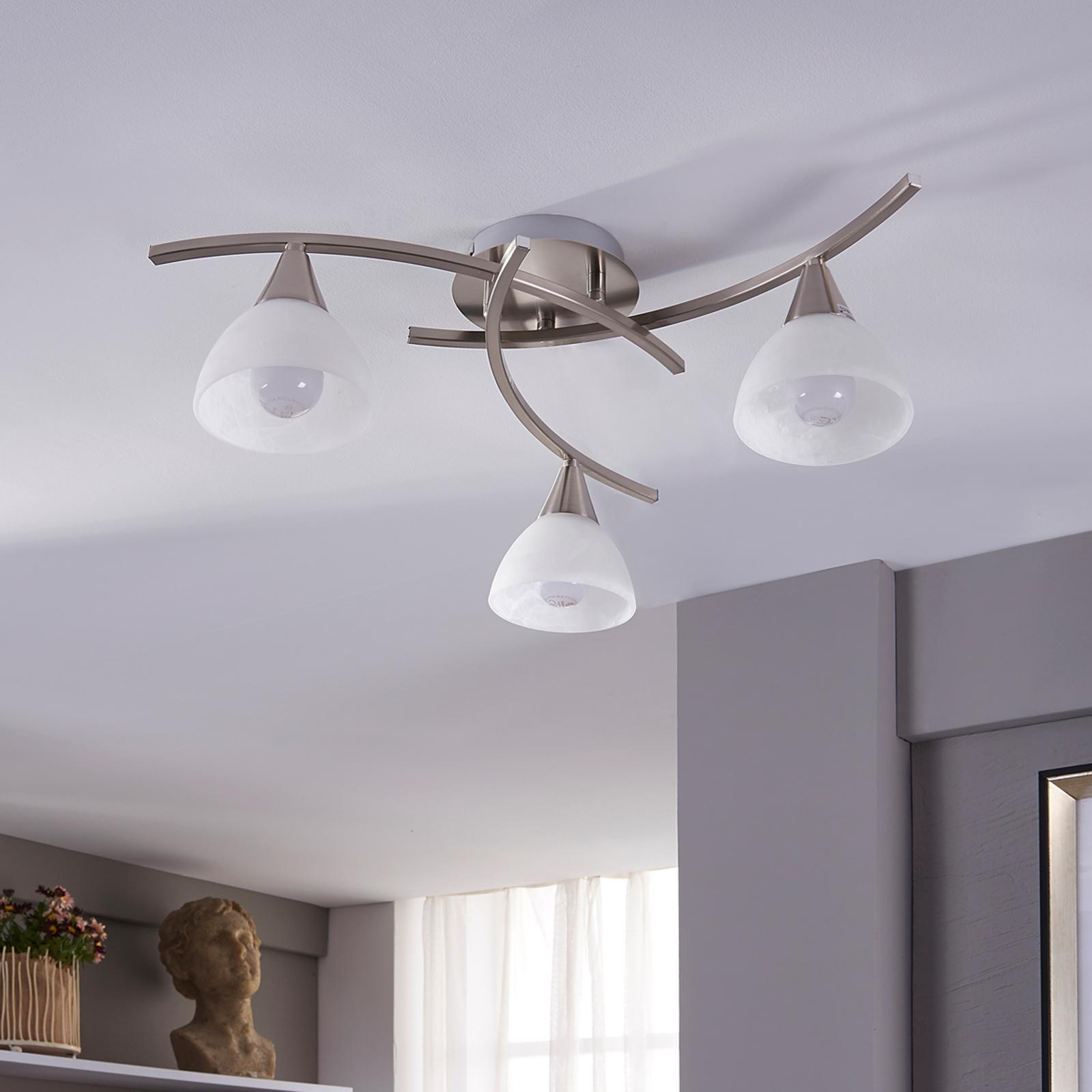 Della - lampa sufitowa LED, matowy nikiel, 3-pkt.
