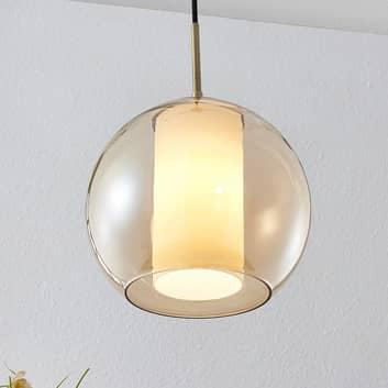 Lindby Yela lámpara colgante de vidrio, ámbar