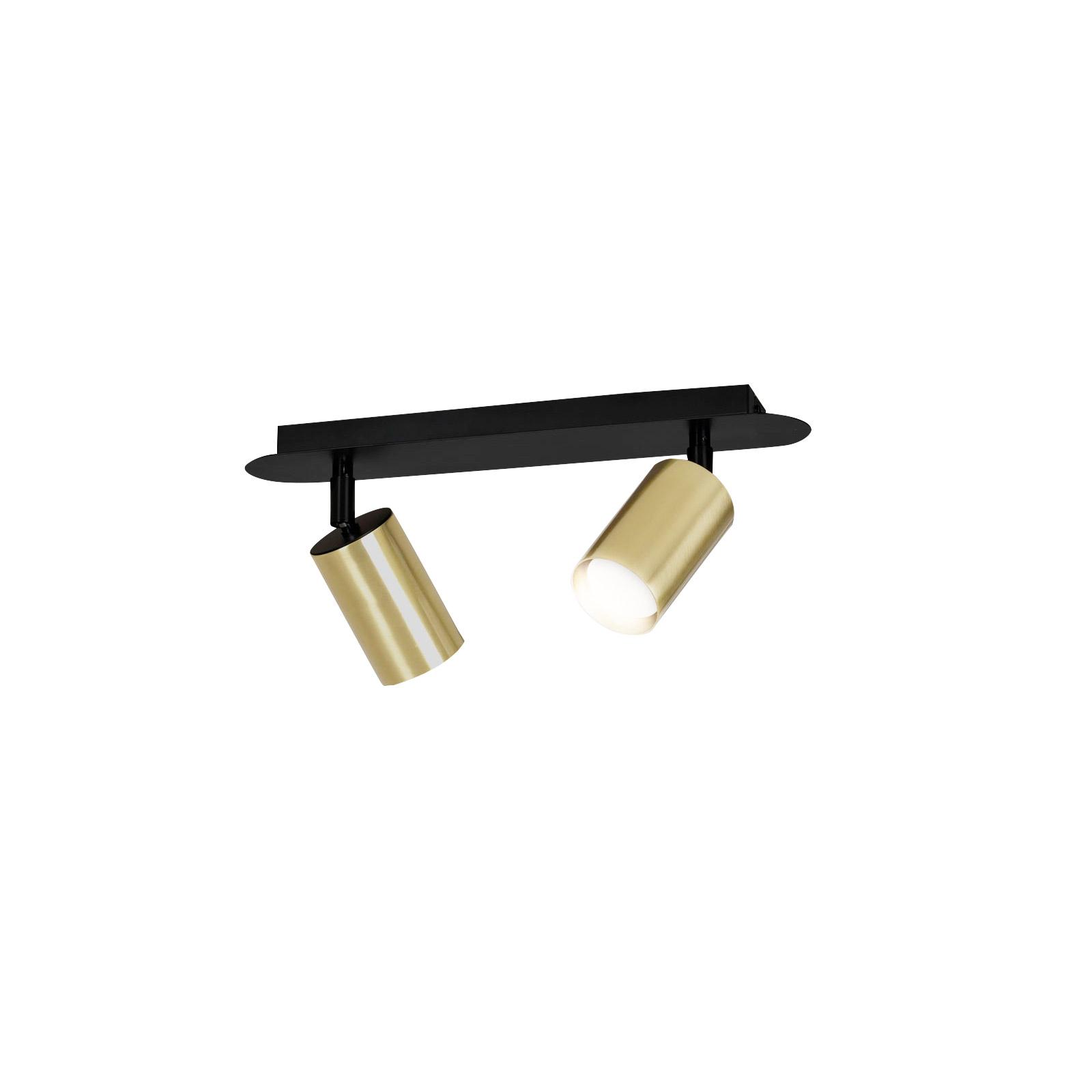 Spot pour plafond Zen 2, à 2 lampes, noir-doré