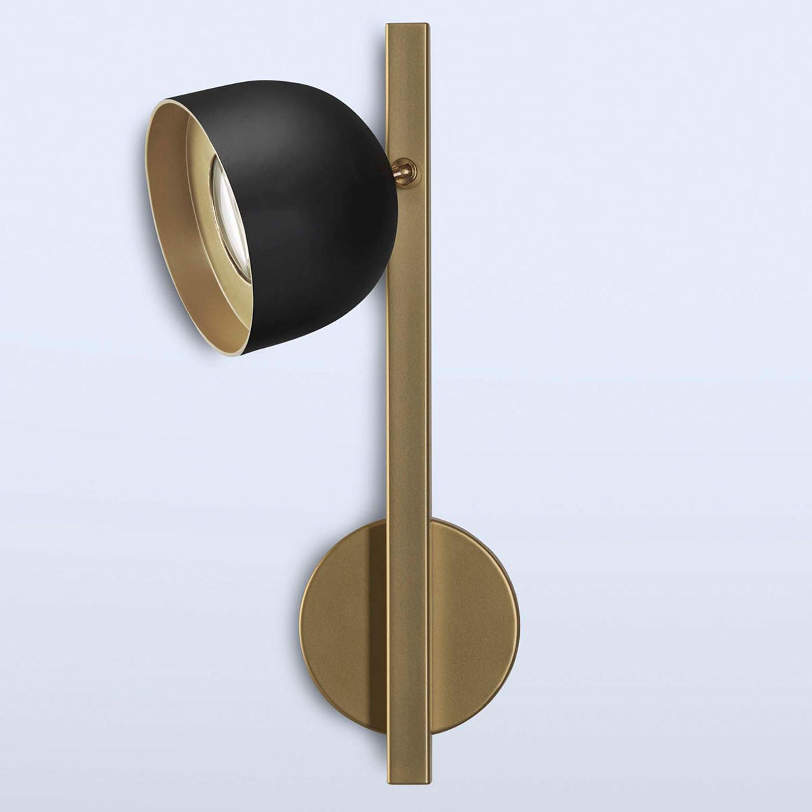 Dome LED-væglampe med lige stel, sort