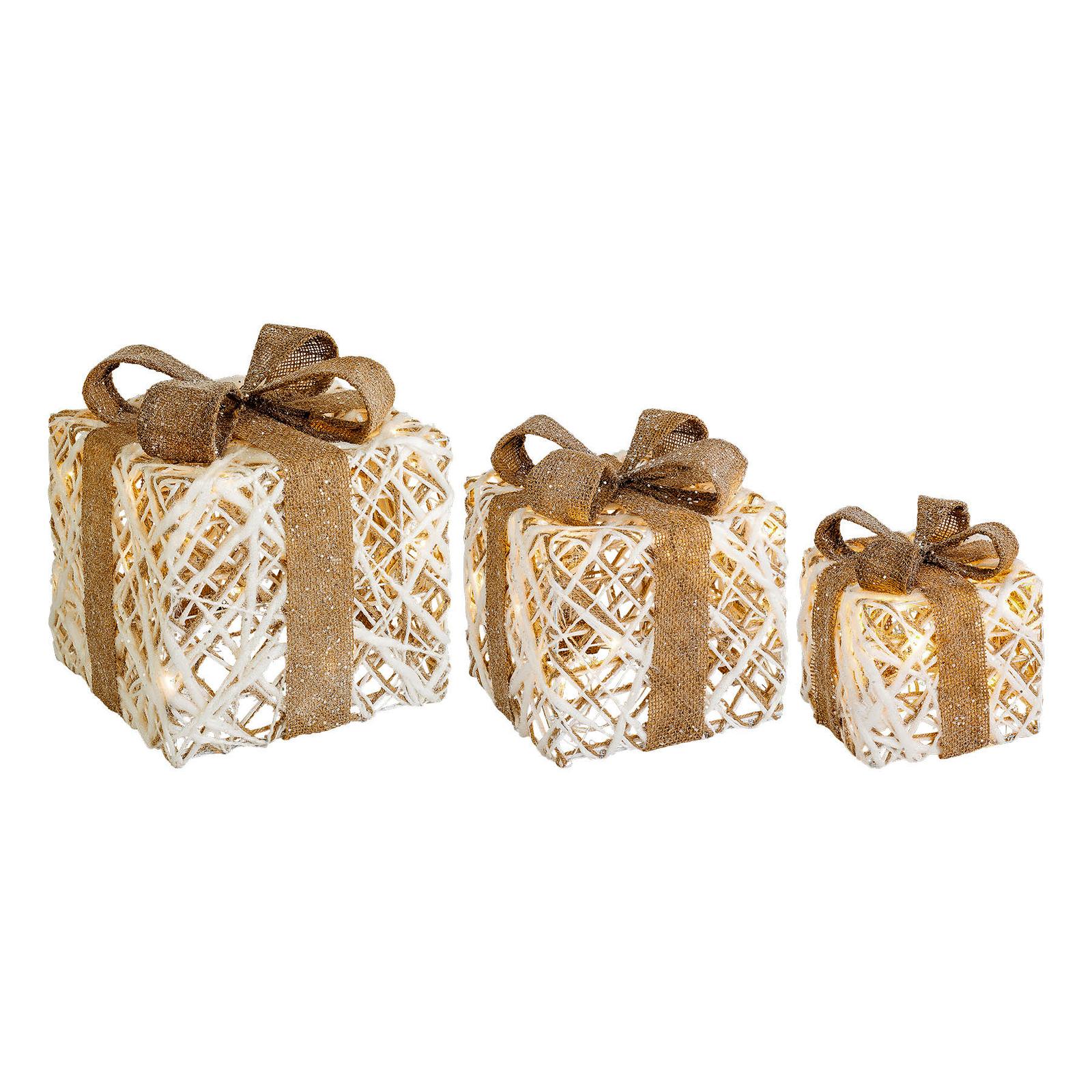Lumineo Objects LED-gaveæske, 3 stk, natur/brun