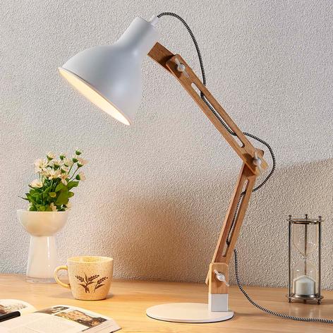 Drewniana lampa biurkowa Shivanja z białym kloszem