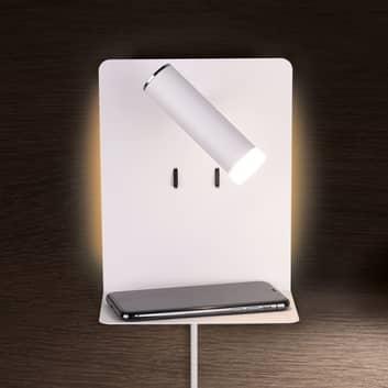 LED-vägglampa Element med hylla, matt vit