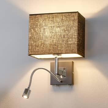 Svart tygvägglampa Rebekka med LED-läslampa