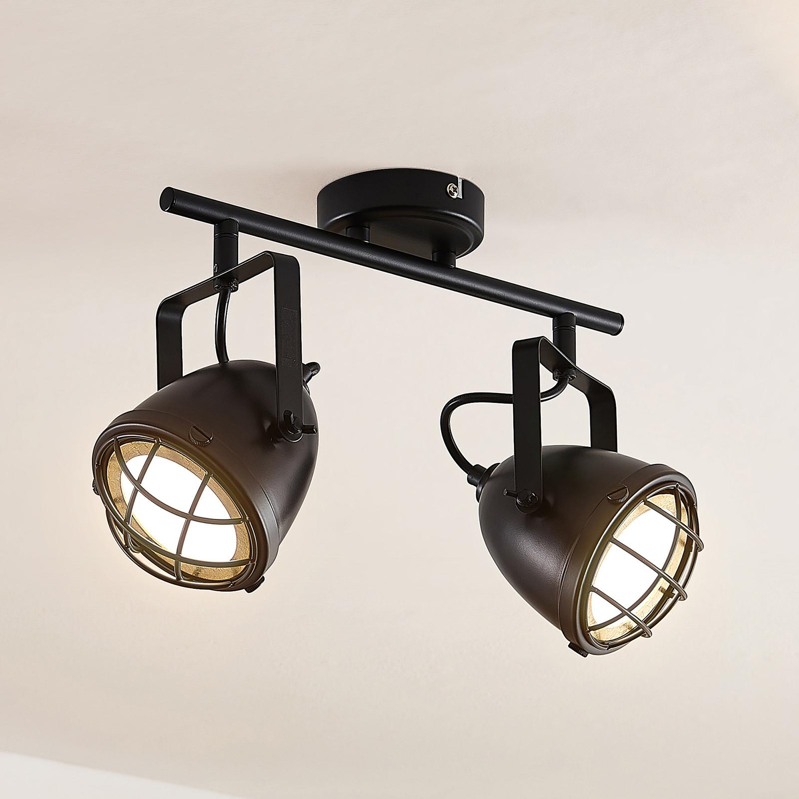 Lindby Biona LED-takspot med gullring, 2 lyskilder