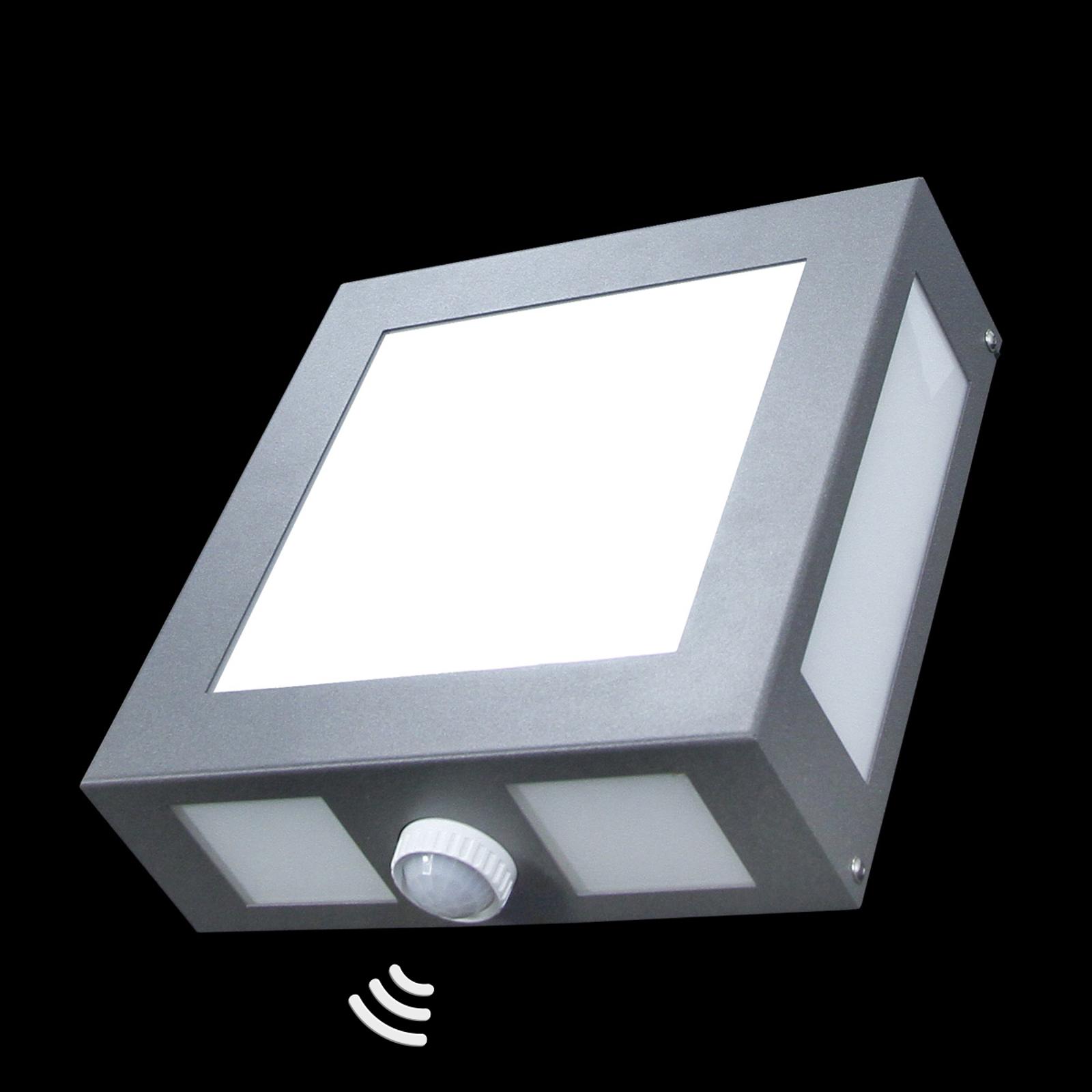 Firkantet Legendo udendørs væglampe i antracit med