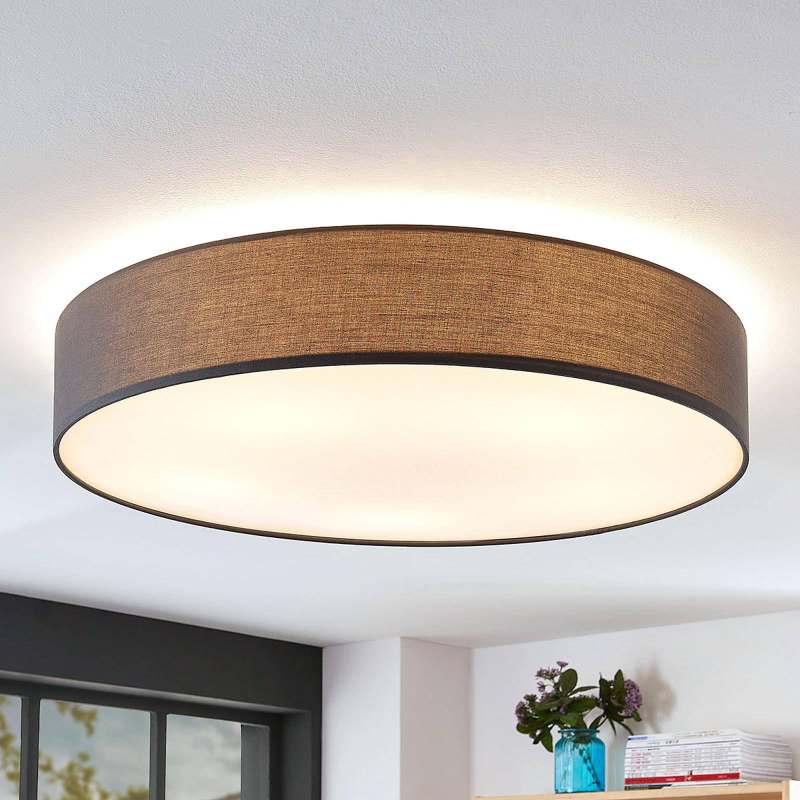 Stoff-Deckenlampe Gordana in Grau, 76 cm