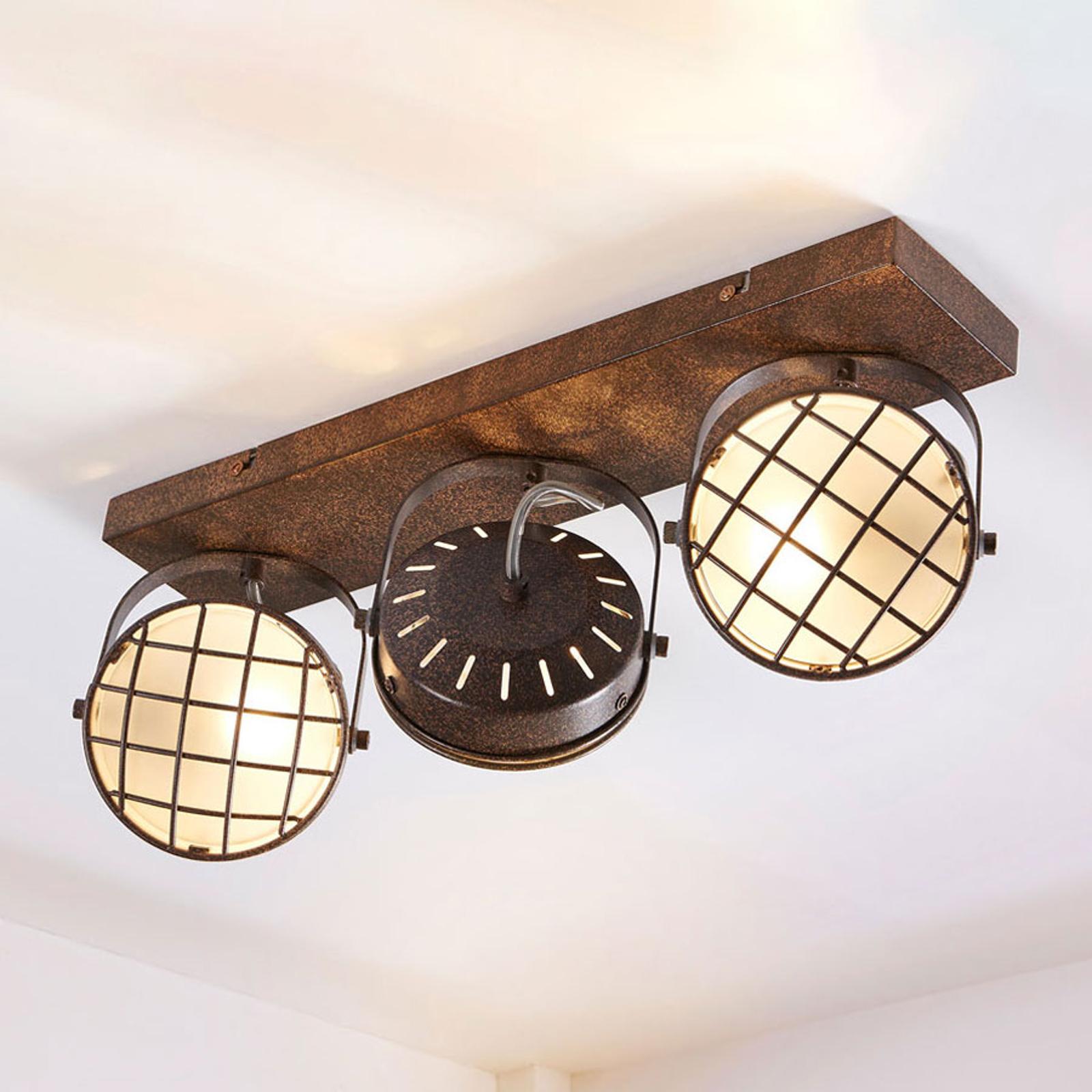 3-lamppuinen LED-kattolamppu Tamin, ruosteenruskea