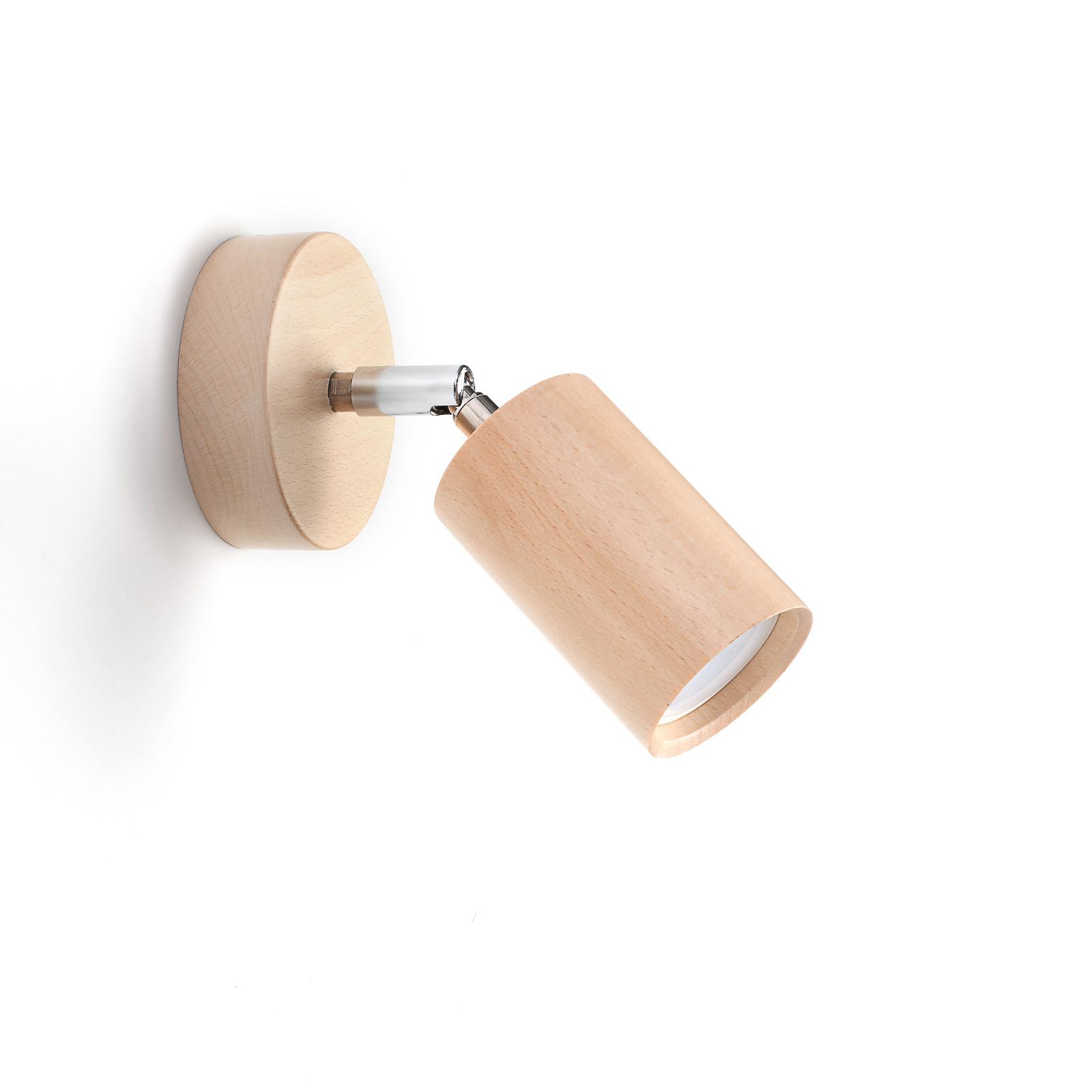 Reflektor ścienny Cre z drewna, 1-punktowy