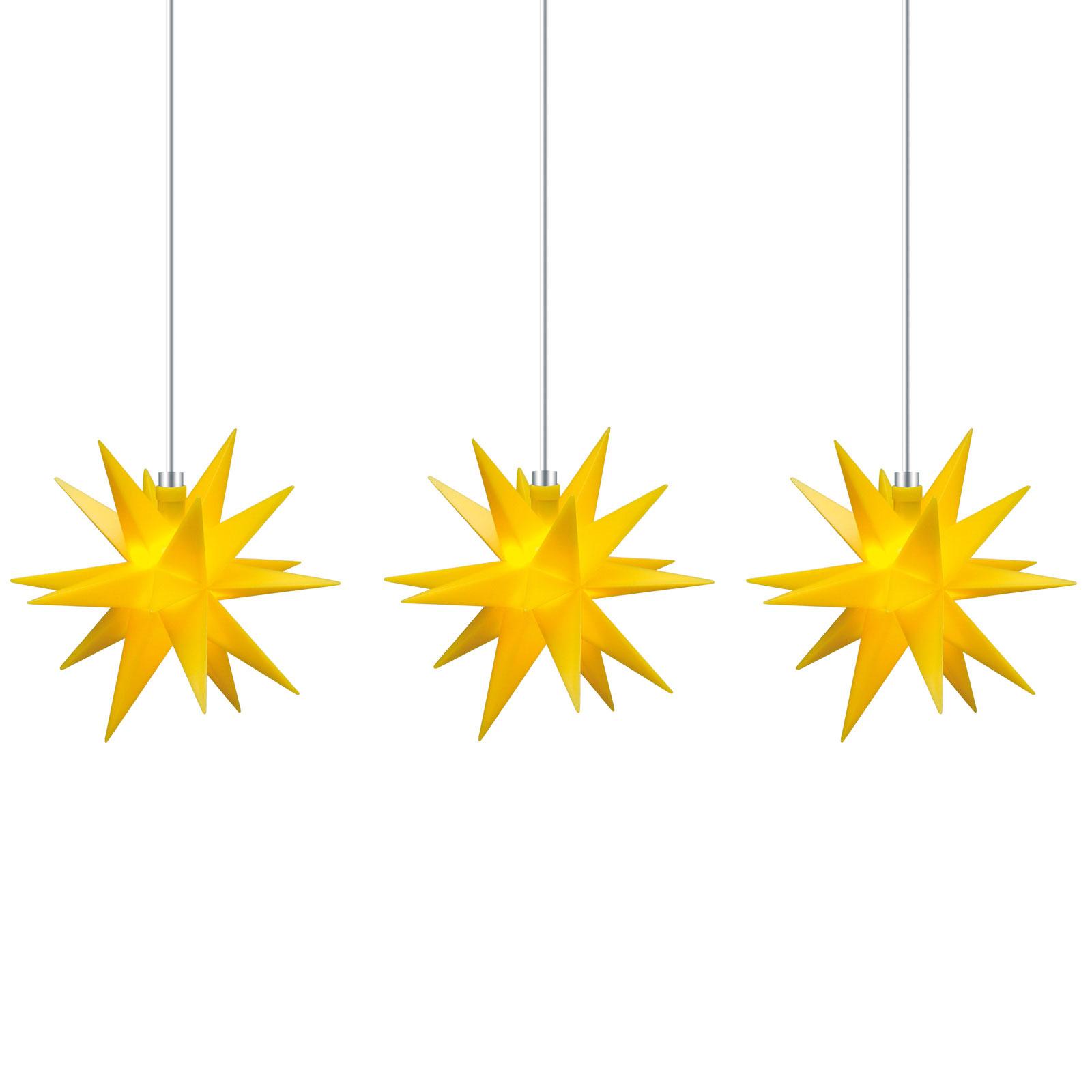 Tähtivaloketju sisälle, 3-lamp., keltainen